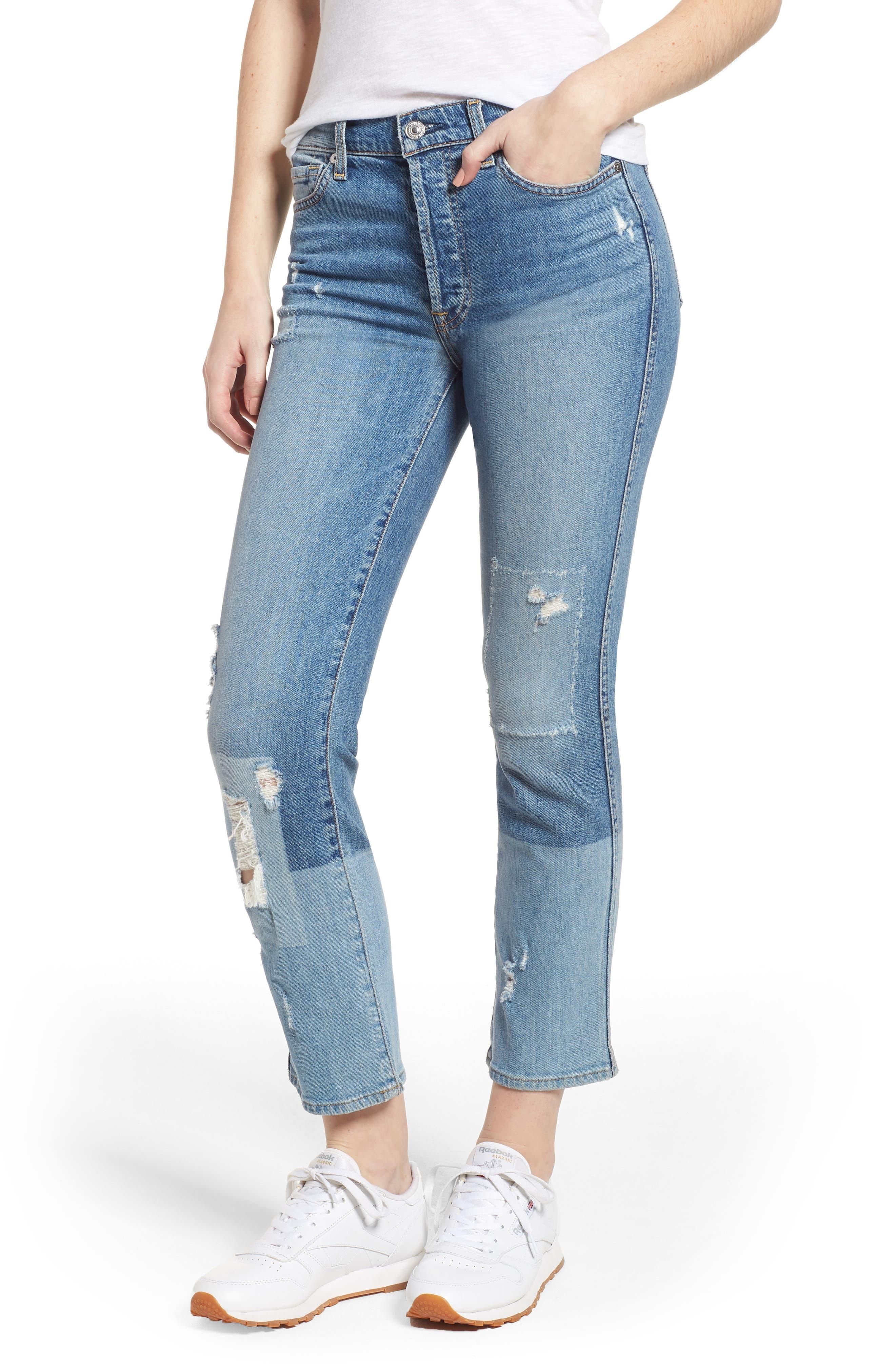 Edie High Waist Crop Straight Leg Jeans,                             Main thumbnail 2, color,