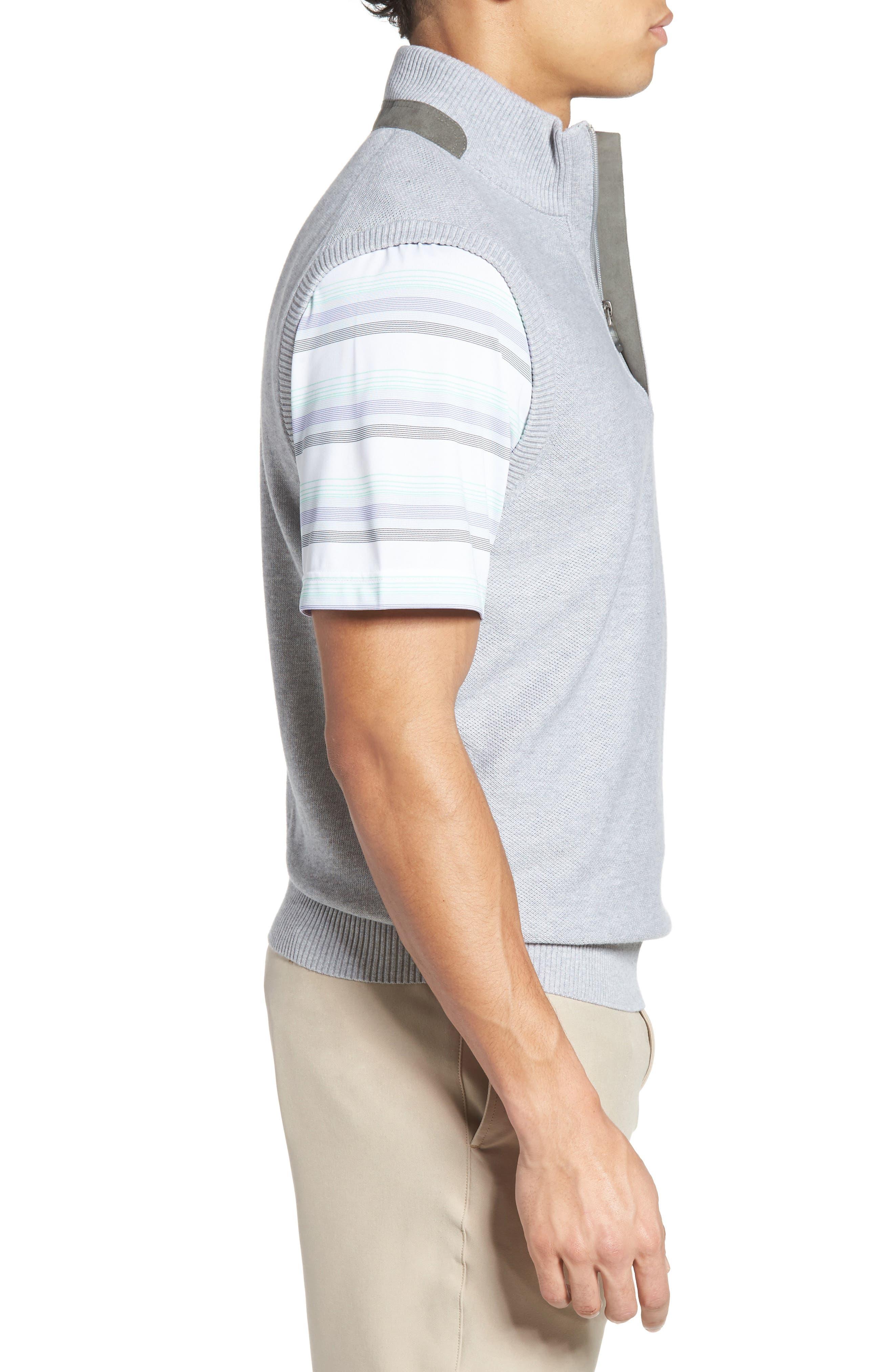 Piqué Jersey Quarter Zip Golf Vest,                             Alternate thumbnail 3, color,                             078