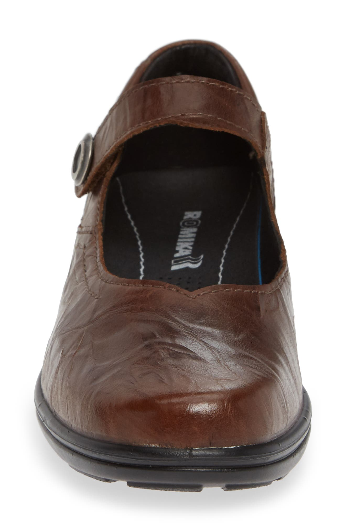 Cassie 50 Mary Jane Flat,                             Alternate thumbnail 4, color,                             BROWN LEATHER
