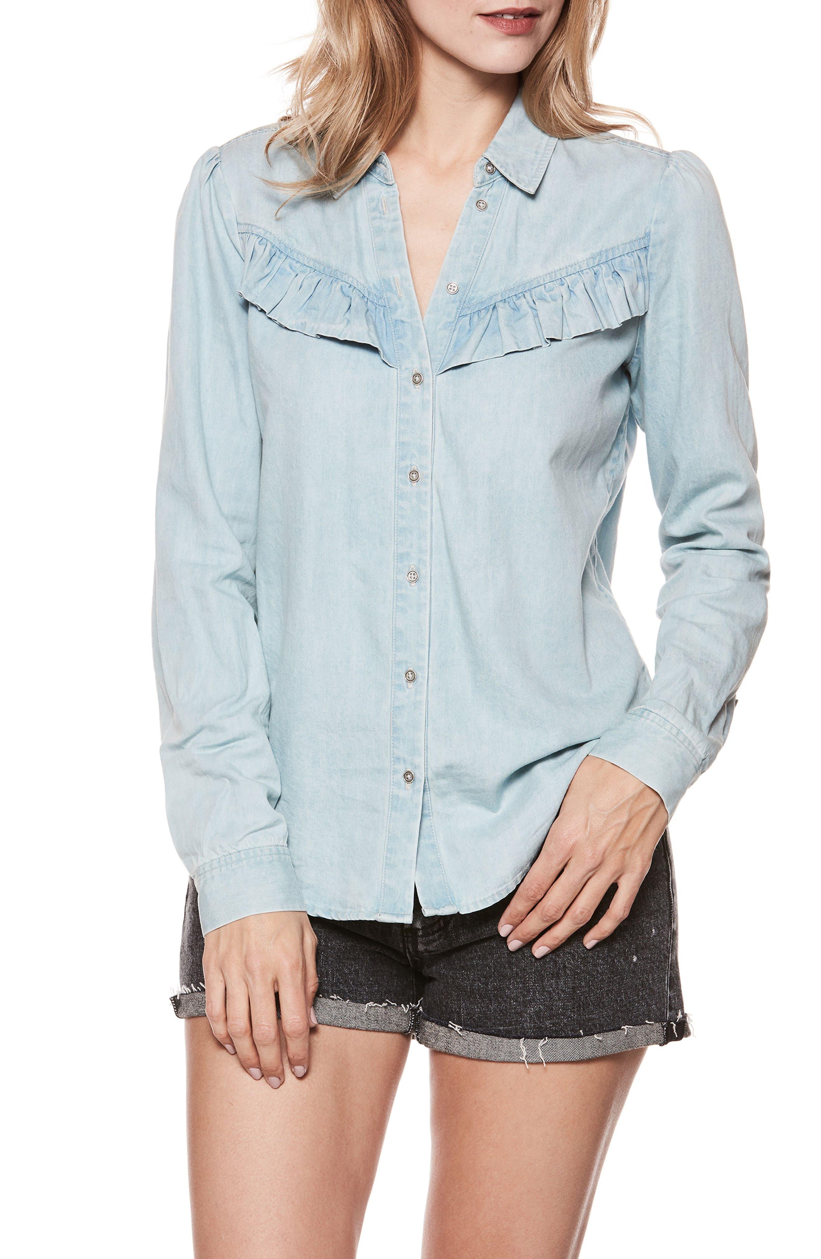 PAIGE Layda Ruffle Western Chambray Shirt, Main, color, 400