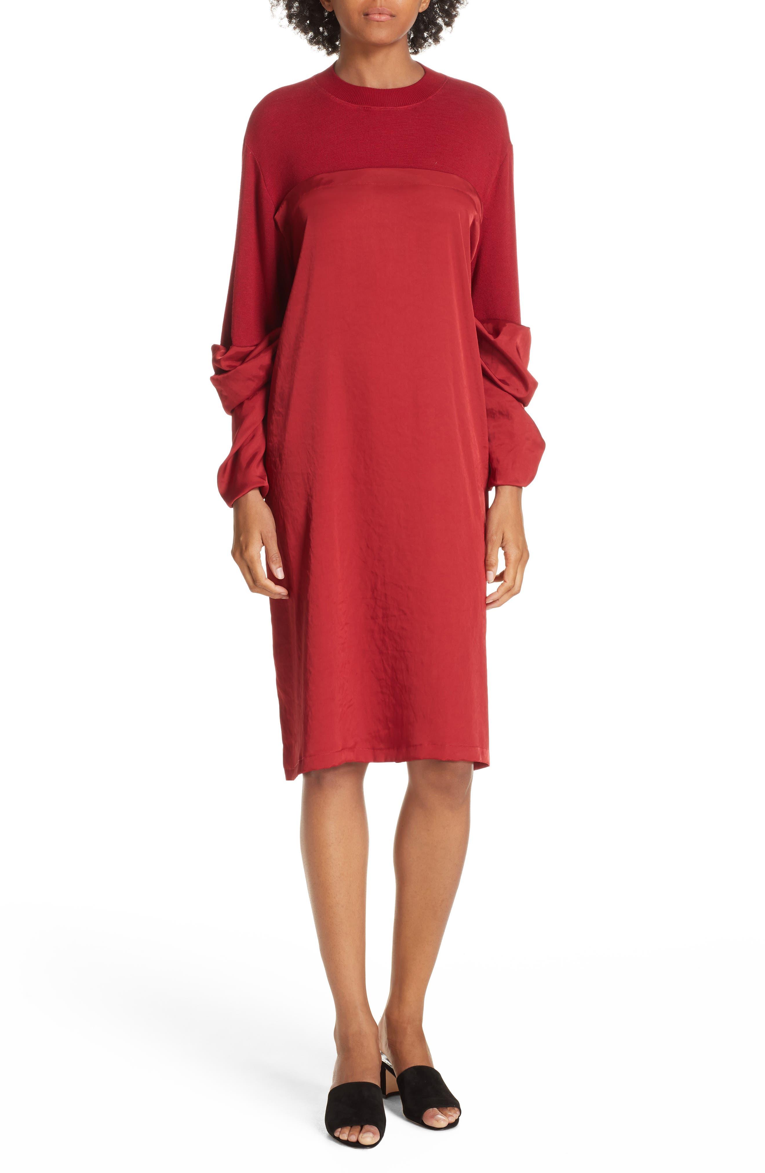 Mixed Media Shift Dress,                             Main thumbnail 1, color,                             RED