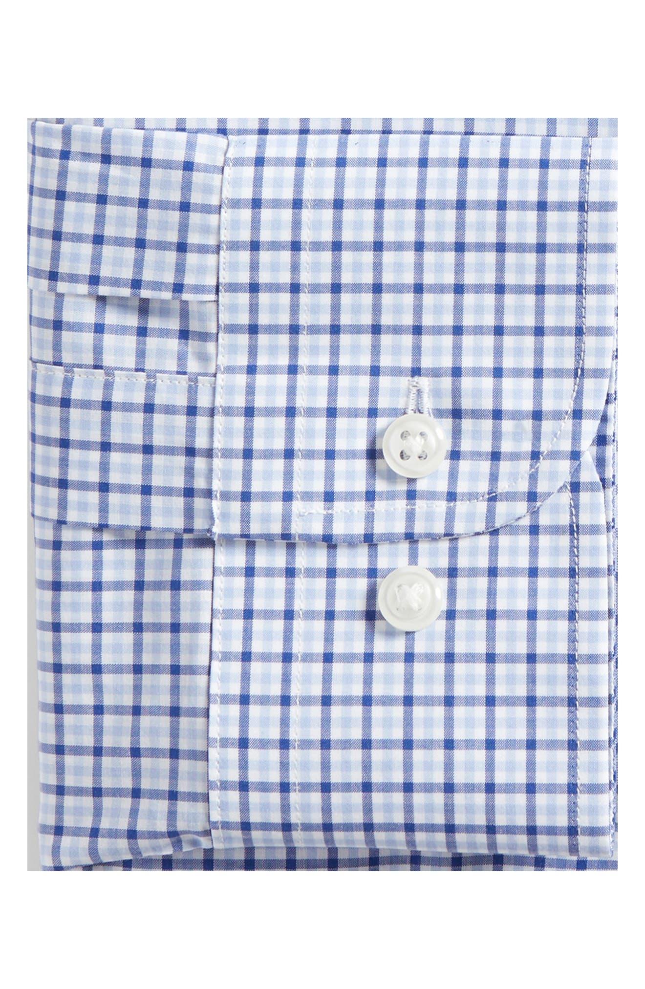 Trim Fit Check Dress Shirt,                             Alternate thumbnail 6, color,                             BLUE SODALITE