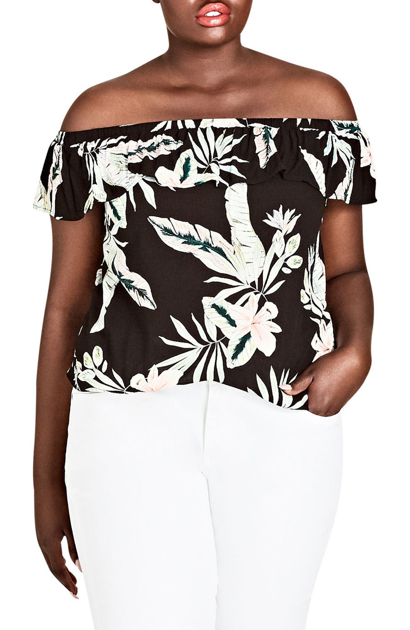 CITY CHIC,                             Oahu Orchid Off the Shoulder Top,                             Main thumbnail 1, color,                             011