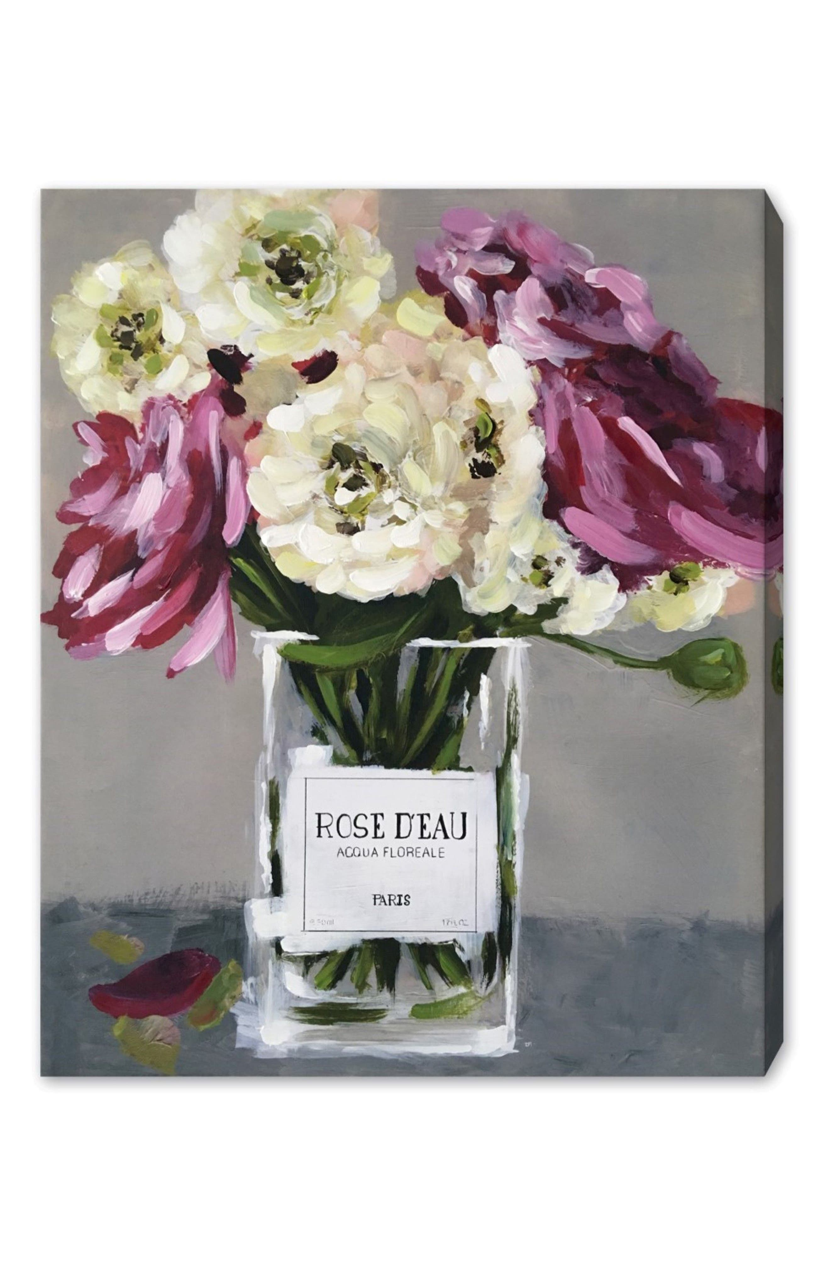 Acqua Florale Canvas Wall Art,                             Main thumbnail 1, color,                             GREY