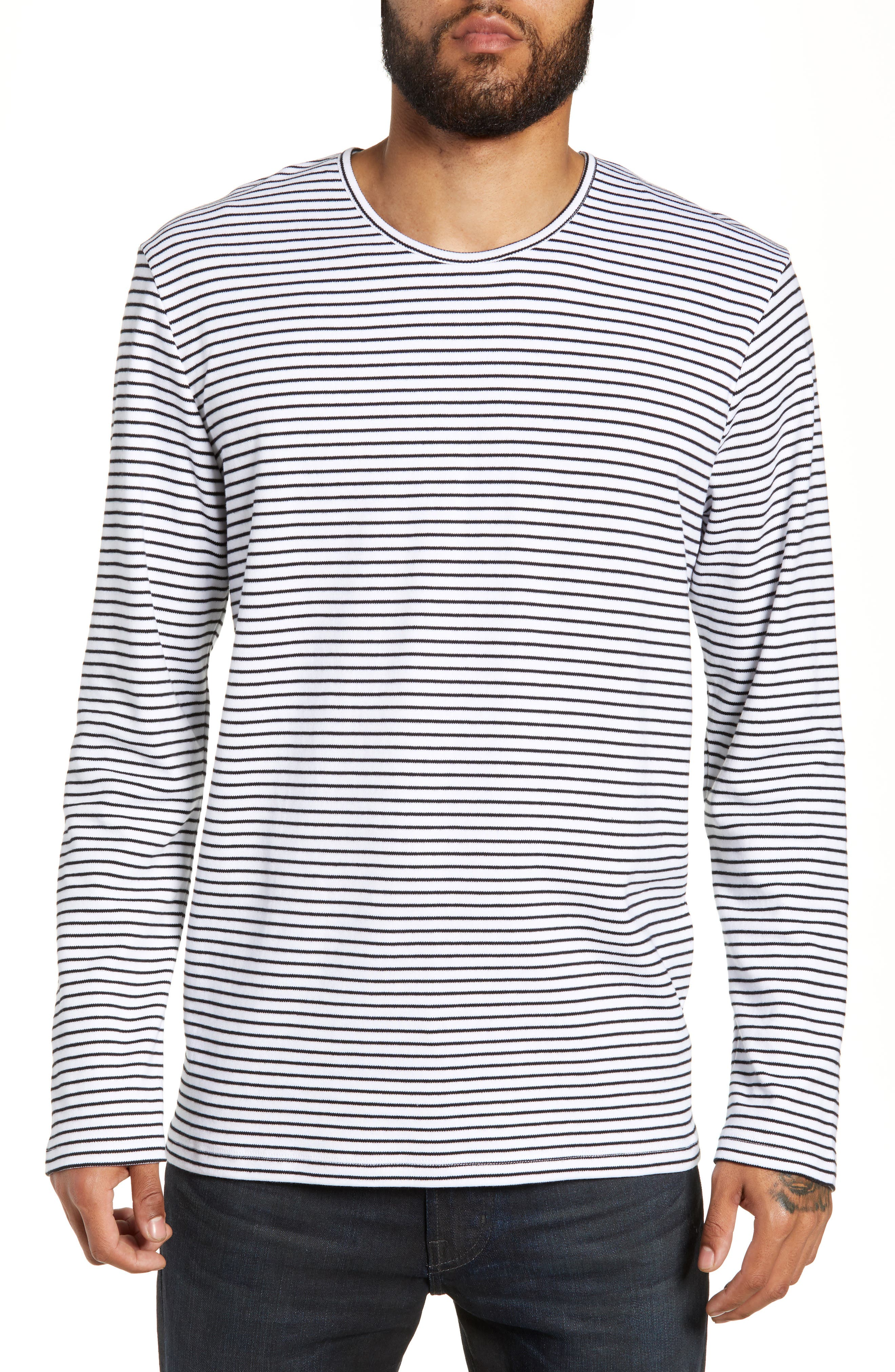 Finham Stripe Long Sleeve T-Shirt,                             Main thumbnail 1, color,                             WHITE / BLACK STRIPE