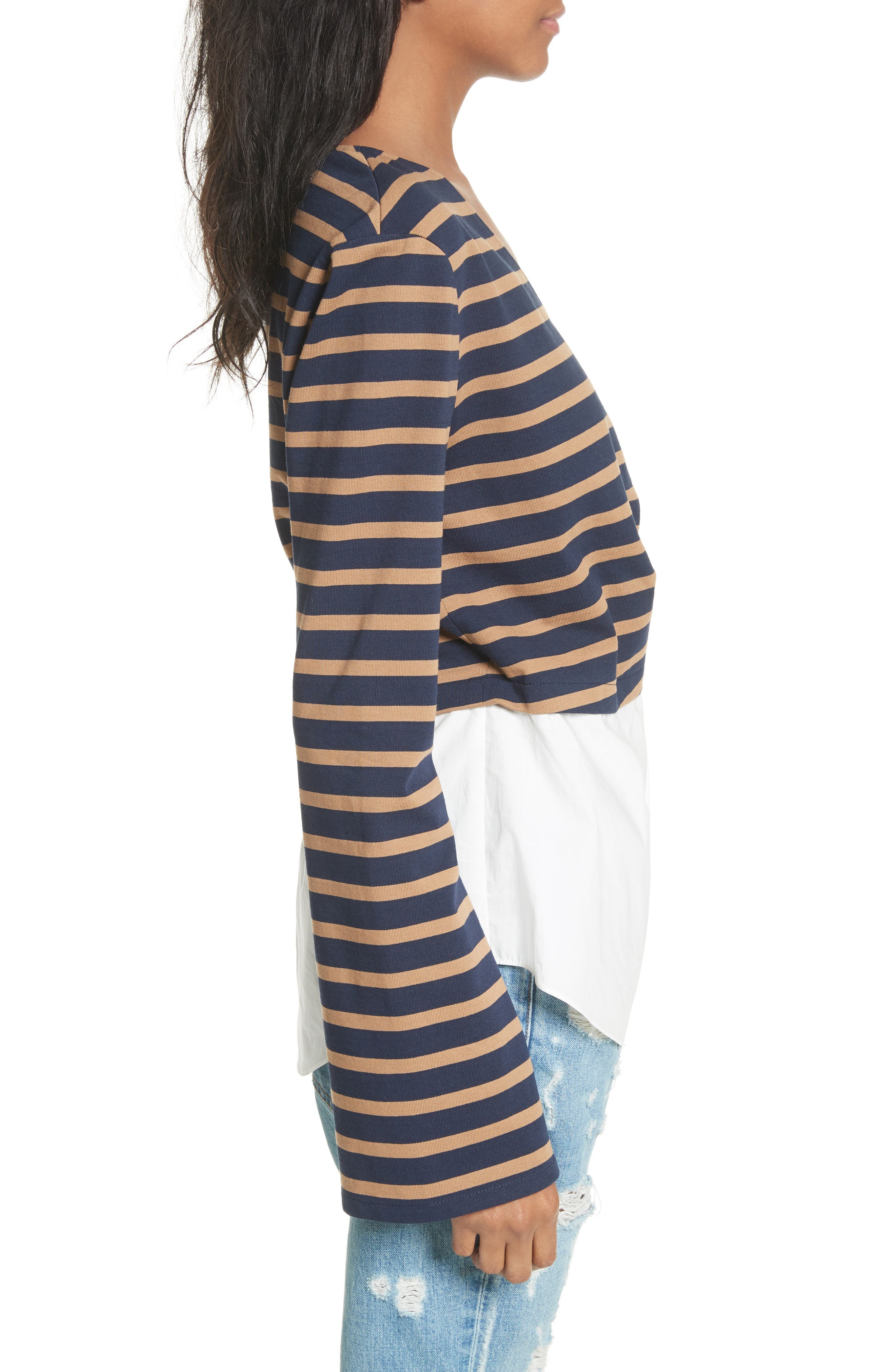 Stripe Wrap Top with Poplin Shirting Combo,                             Alternate thumbnail 3, color,                             466