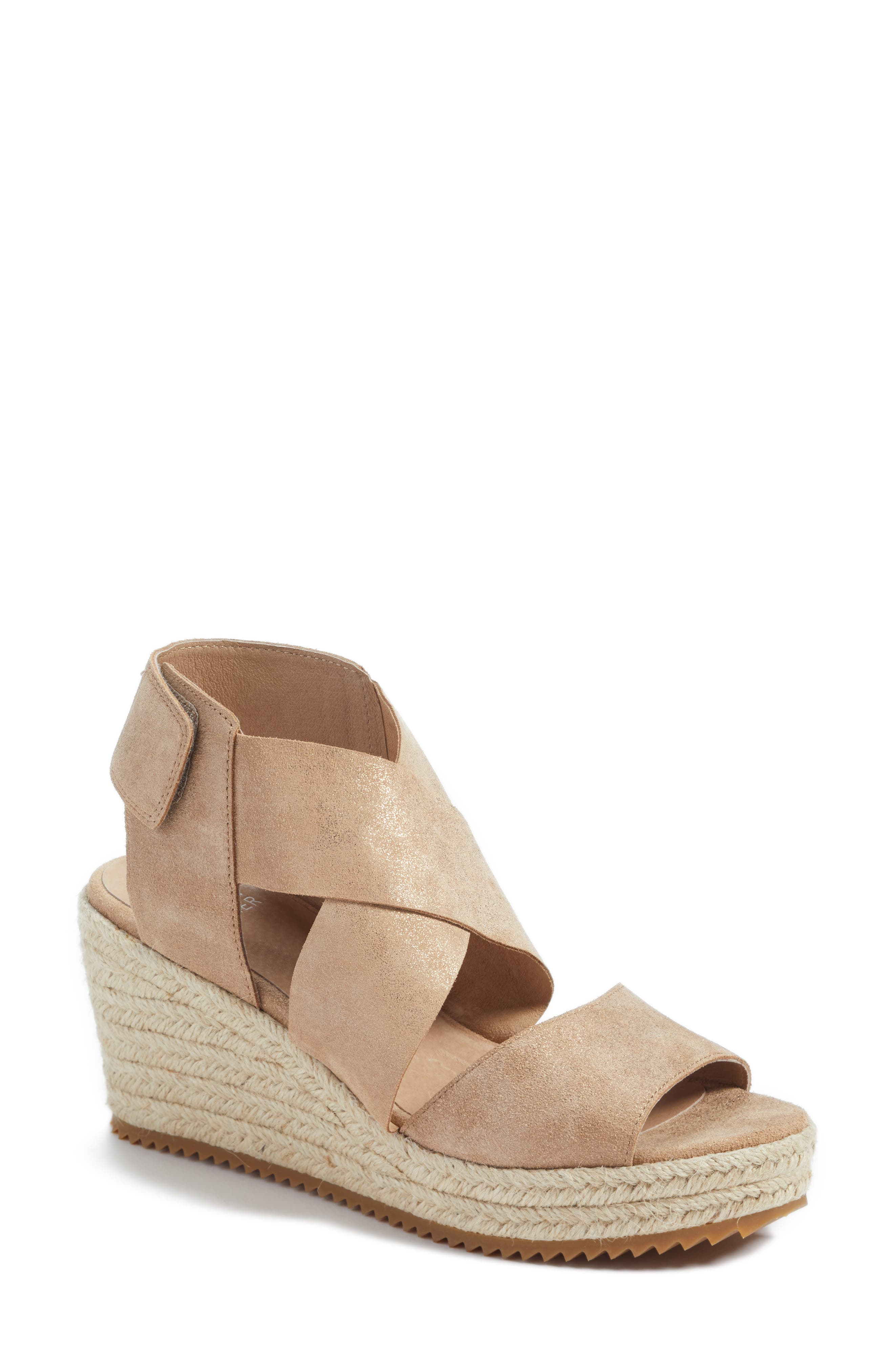 'Willow' Espadrille Wedge Sandal,                             Main thumbnail 1, color,                             LIGHT GOLD STARRY LEATHER
