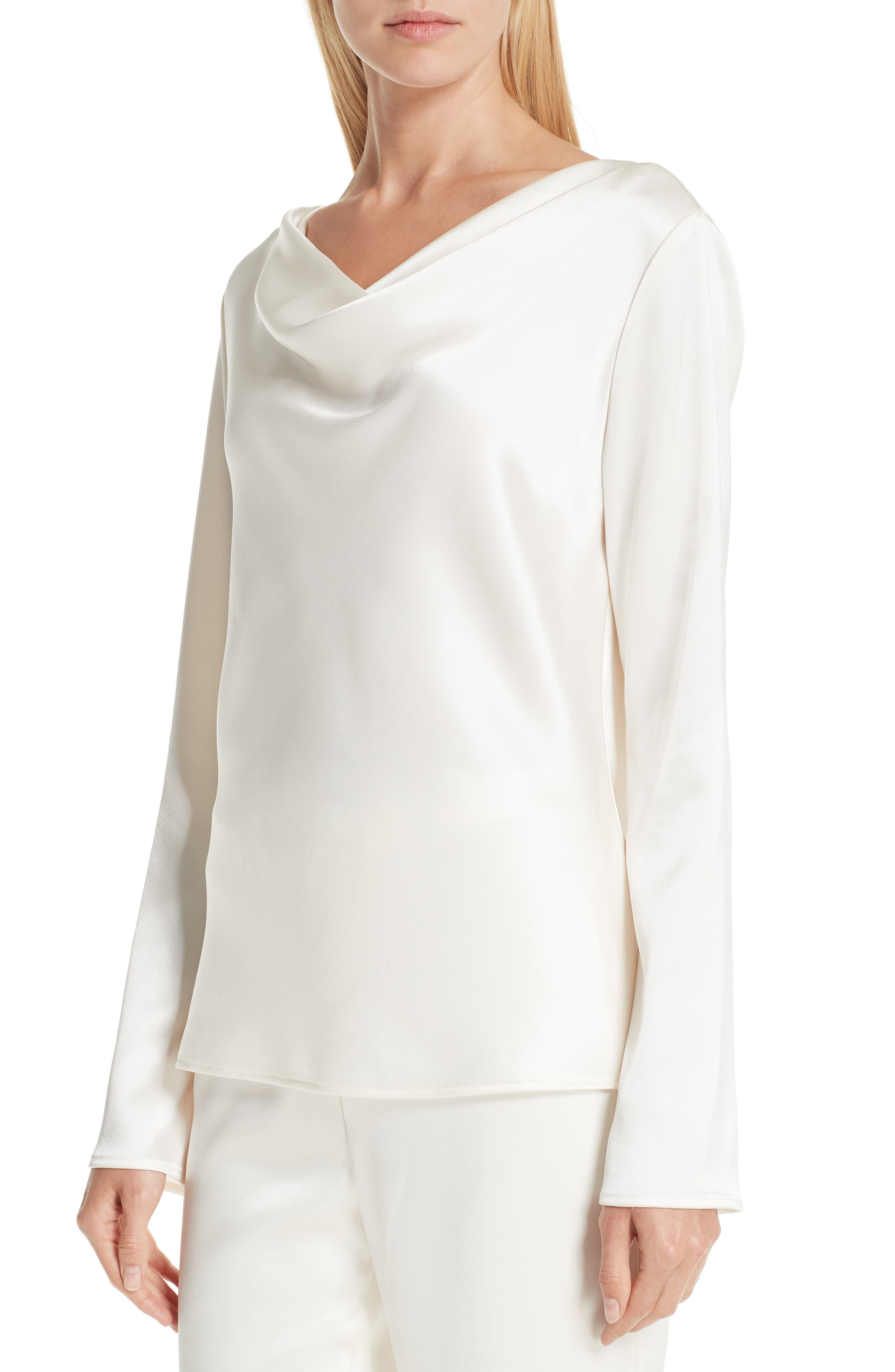 ST. JOHN COLLECTION,                             Satin Cowl Neck Blouse,                             Alternate thumbnail 4, color,                             CREAM