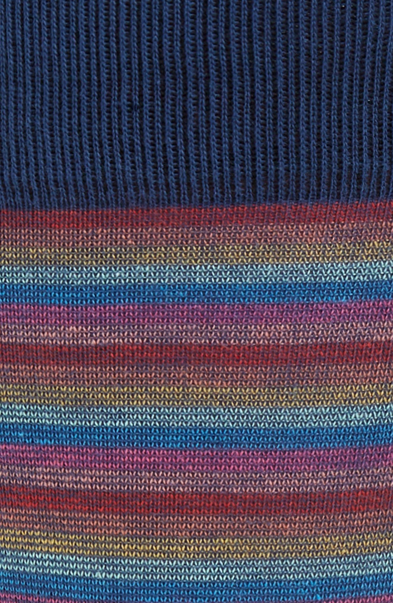 Gradient Feeder Stripe Sock,                             Alternate thumbnail 2, color,                             NAVY/ RED