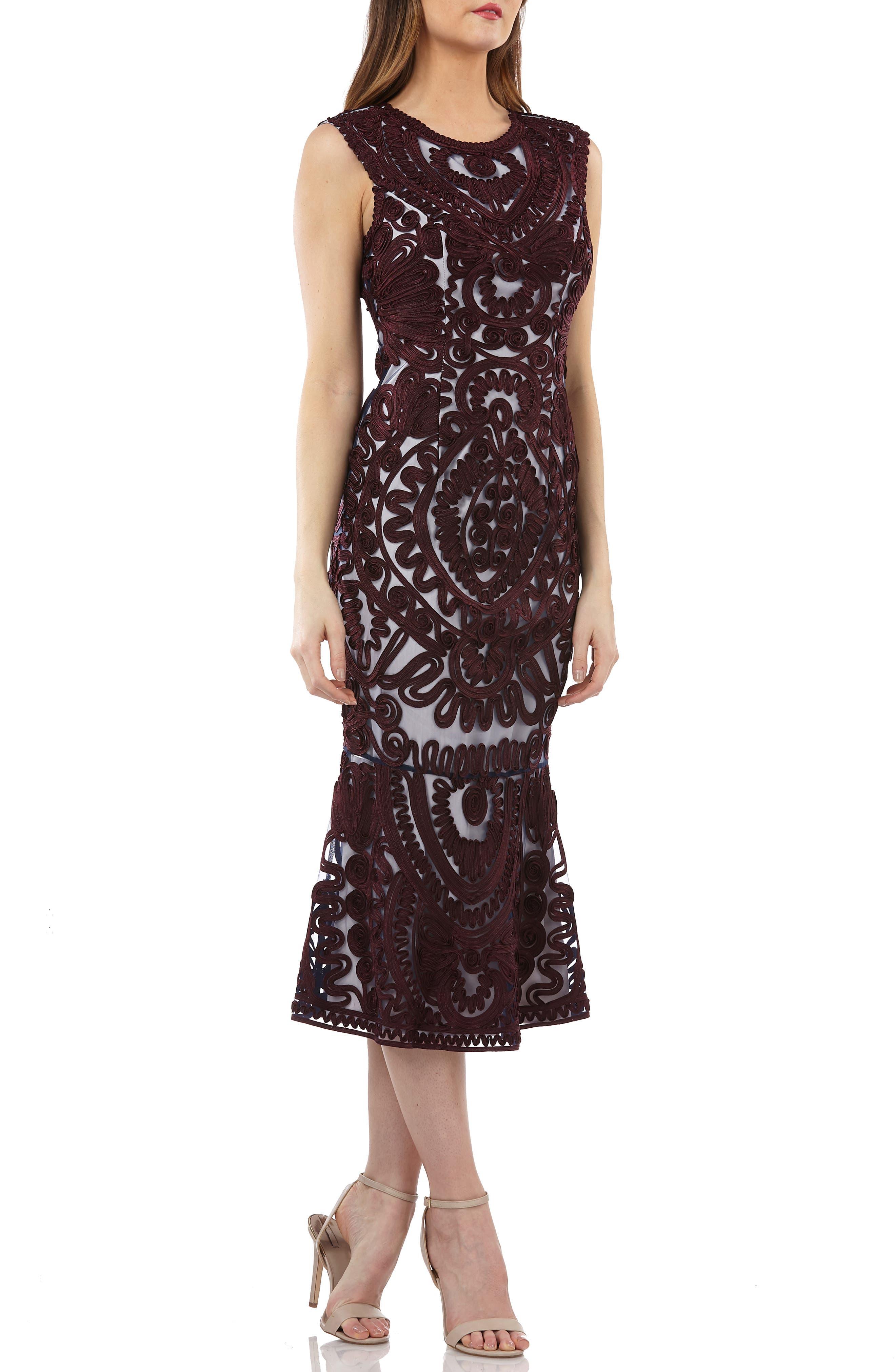 Js Collections Soutache Mesh Dress, Red