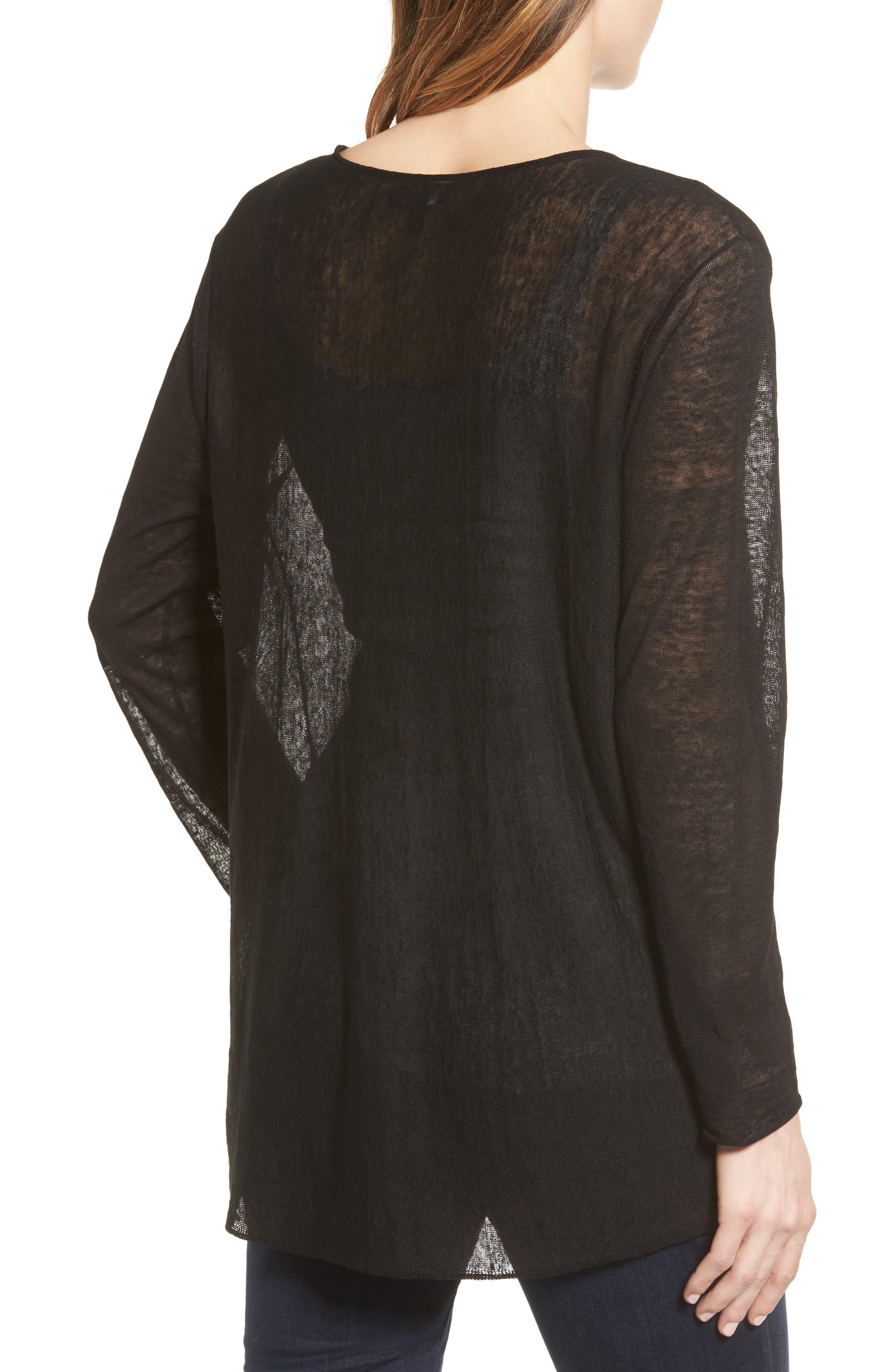 Organic Linen Blend Swing Sweater,                             Alternate thumbnail 2, color,                             001