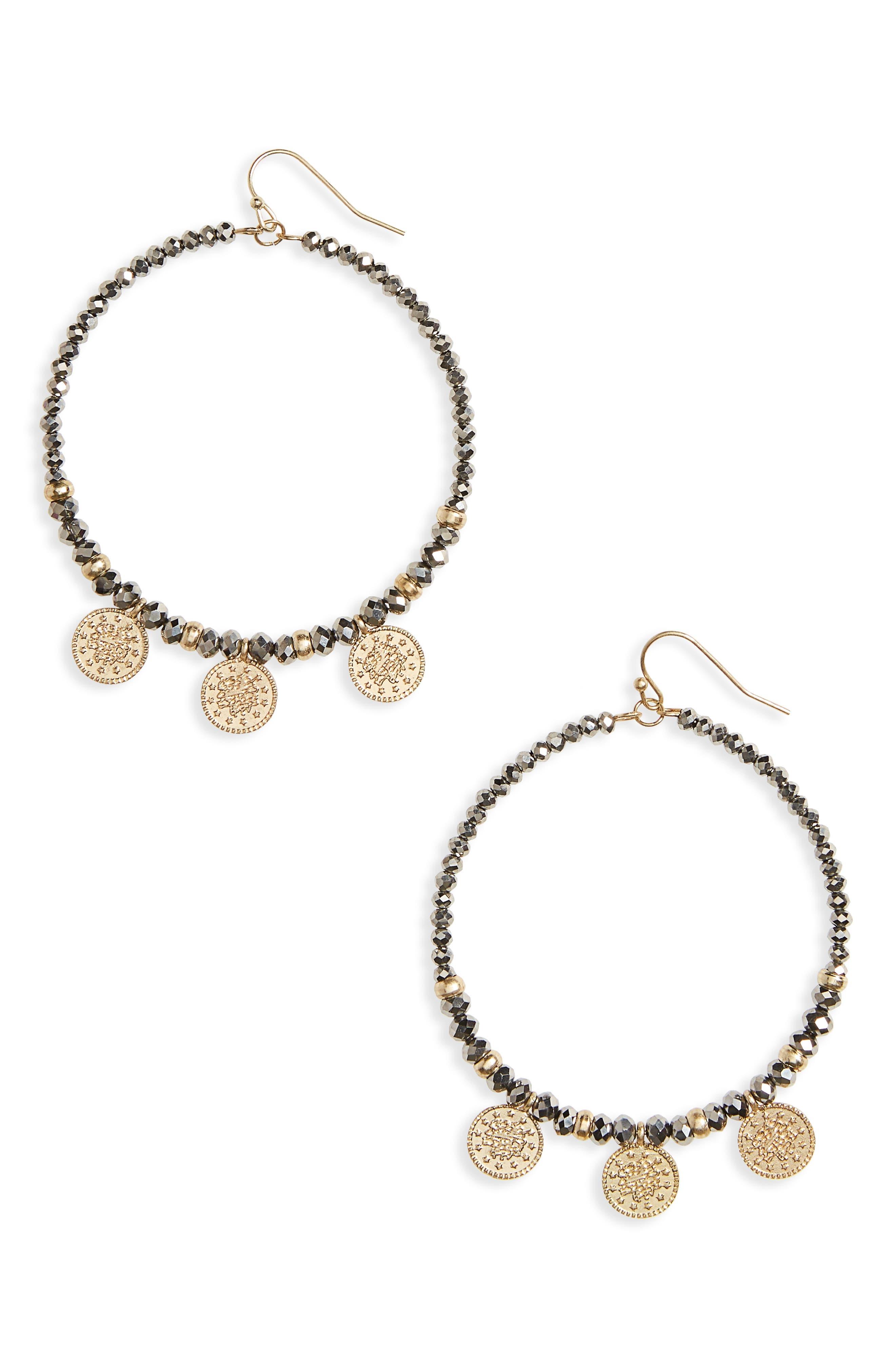 Glass Bead & Coin Hoop Earrings,                             Main thumbnail 1, color,