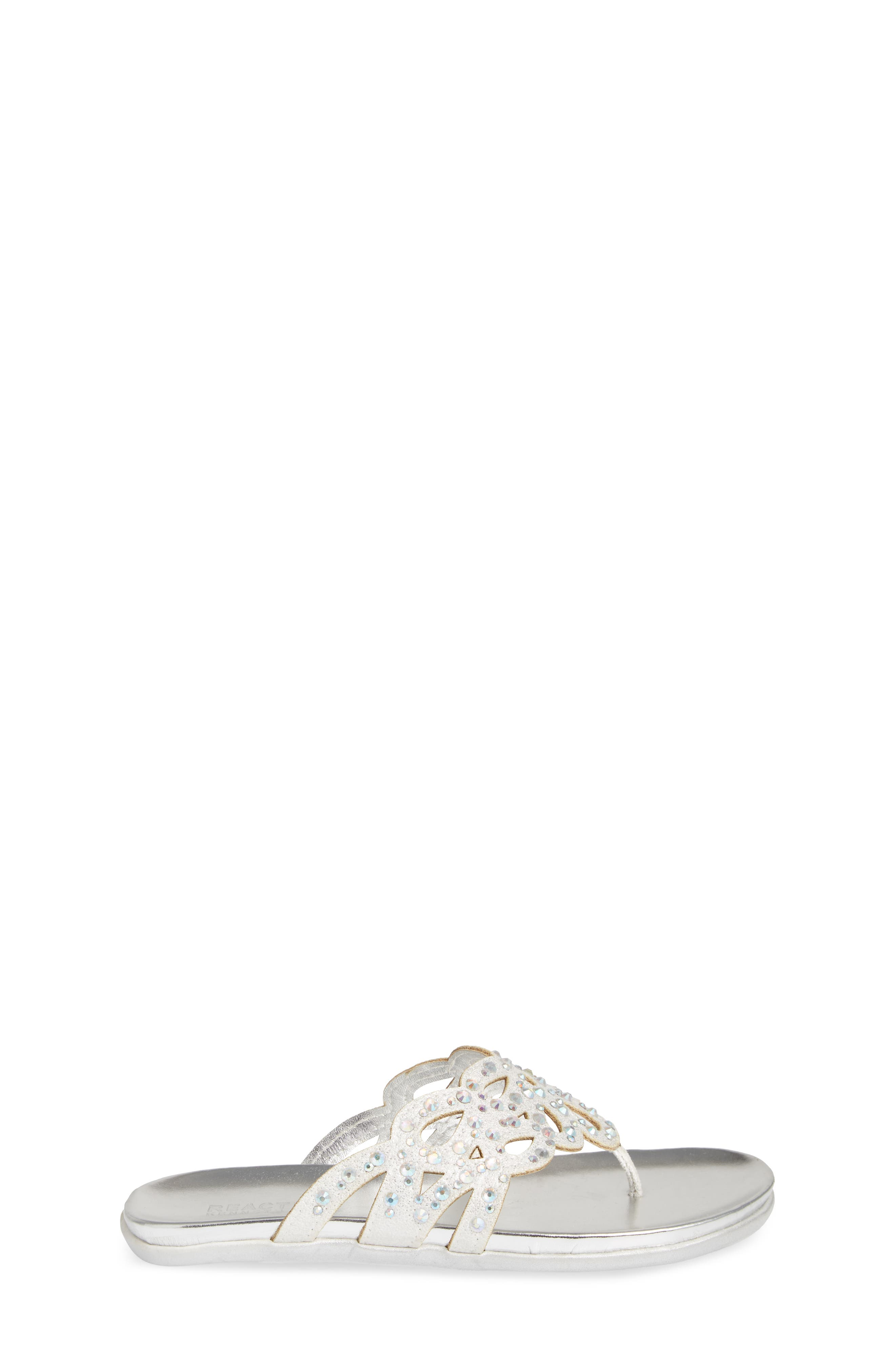 REACTION KENNETH COLE,                             Kenneth Cole New York Flutter Metallic Crystal Thong Sandal,                             Alternate thumbnail 3, color,                             044