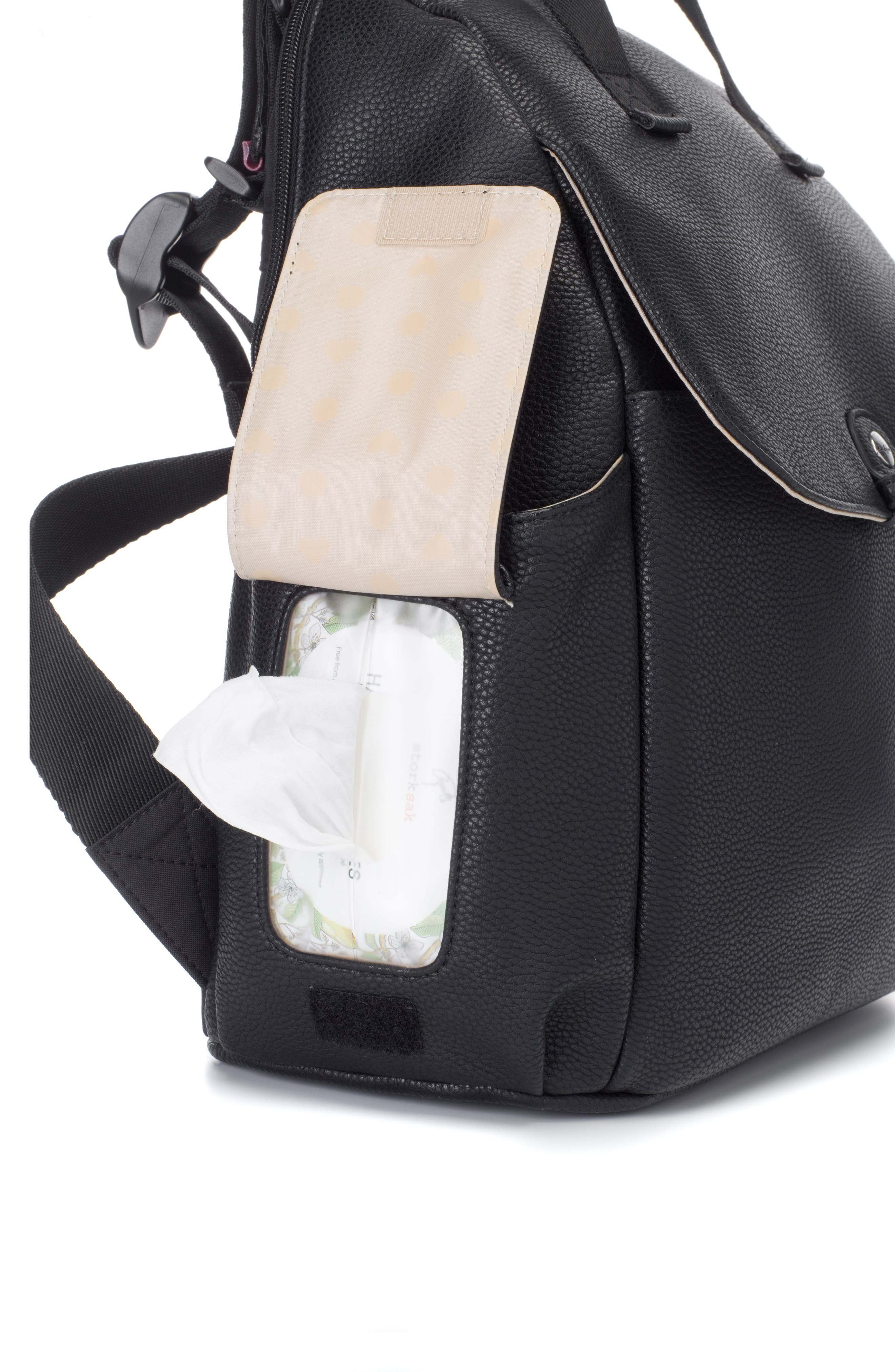Robyn Convertible Faux Leather Diaper Backpack,                             Alternate thumbnail 7, color,                             BLACK