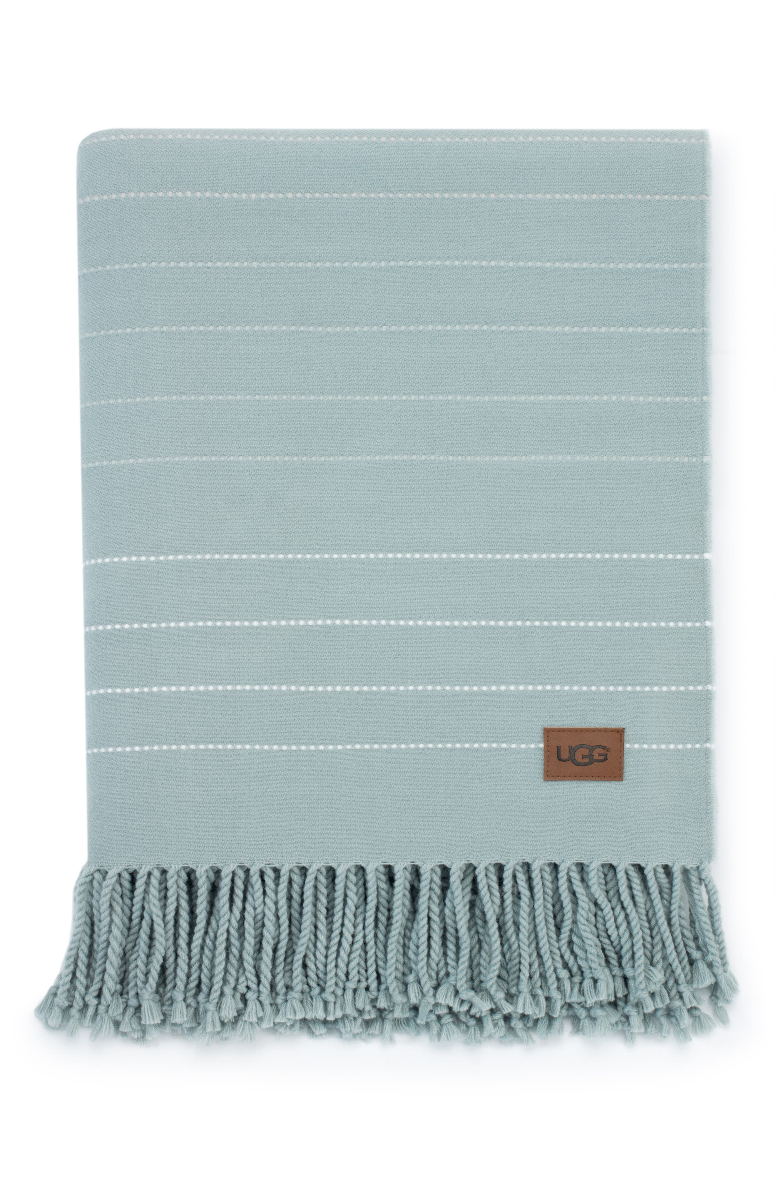 UGG<SUP>®</SUP>,                             Emory Stitch Stripe Throw Blanket,                             Main thumbnail 1, color,                             SLATE MULTI