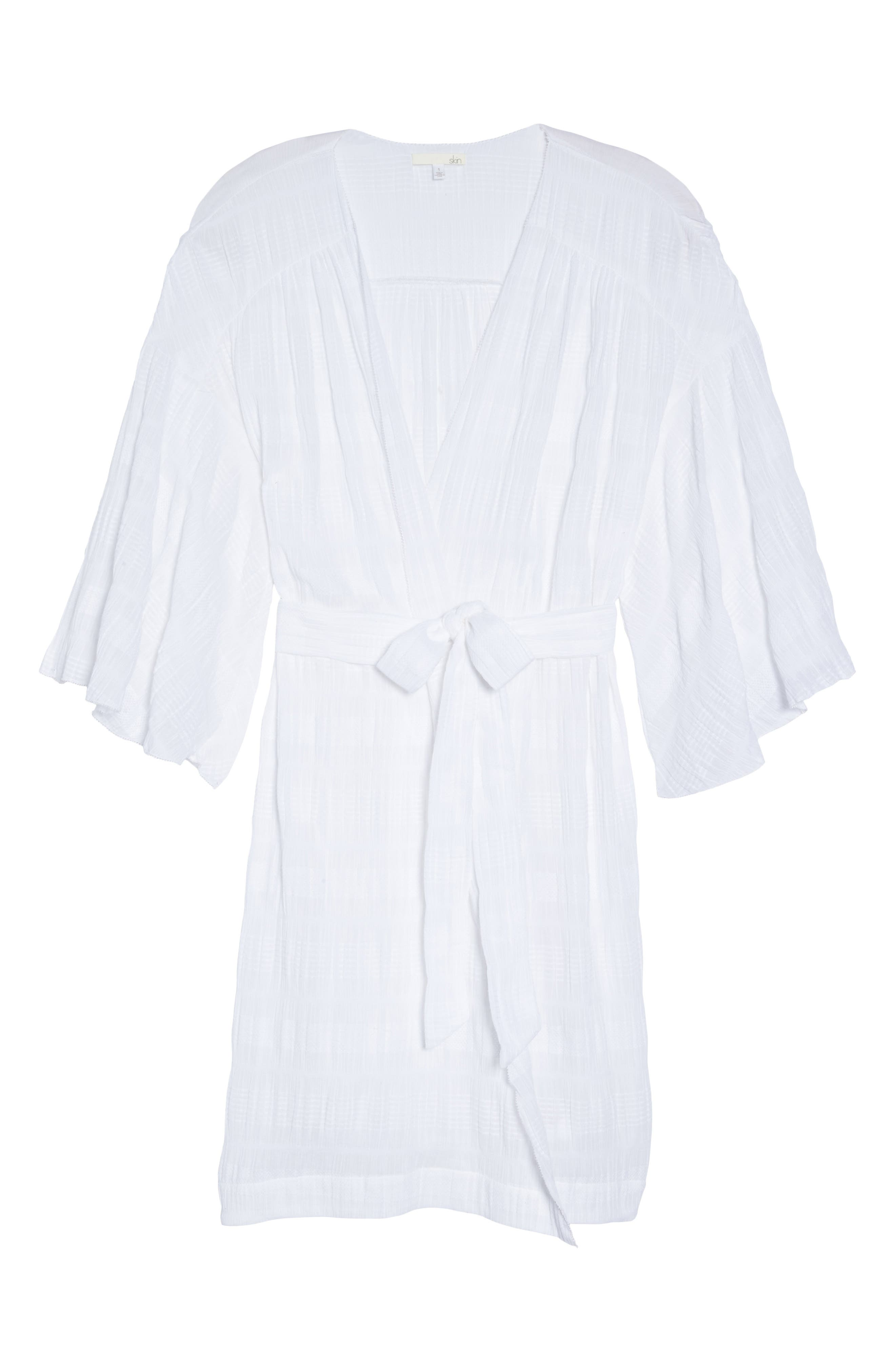 Nina Gauze Short Robe,                             Alternate thumbnail 6, color,                             100