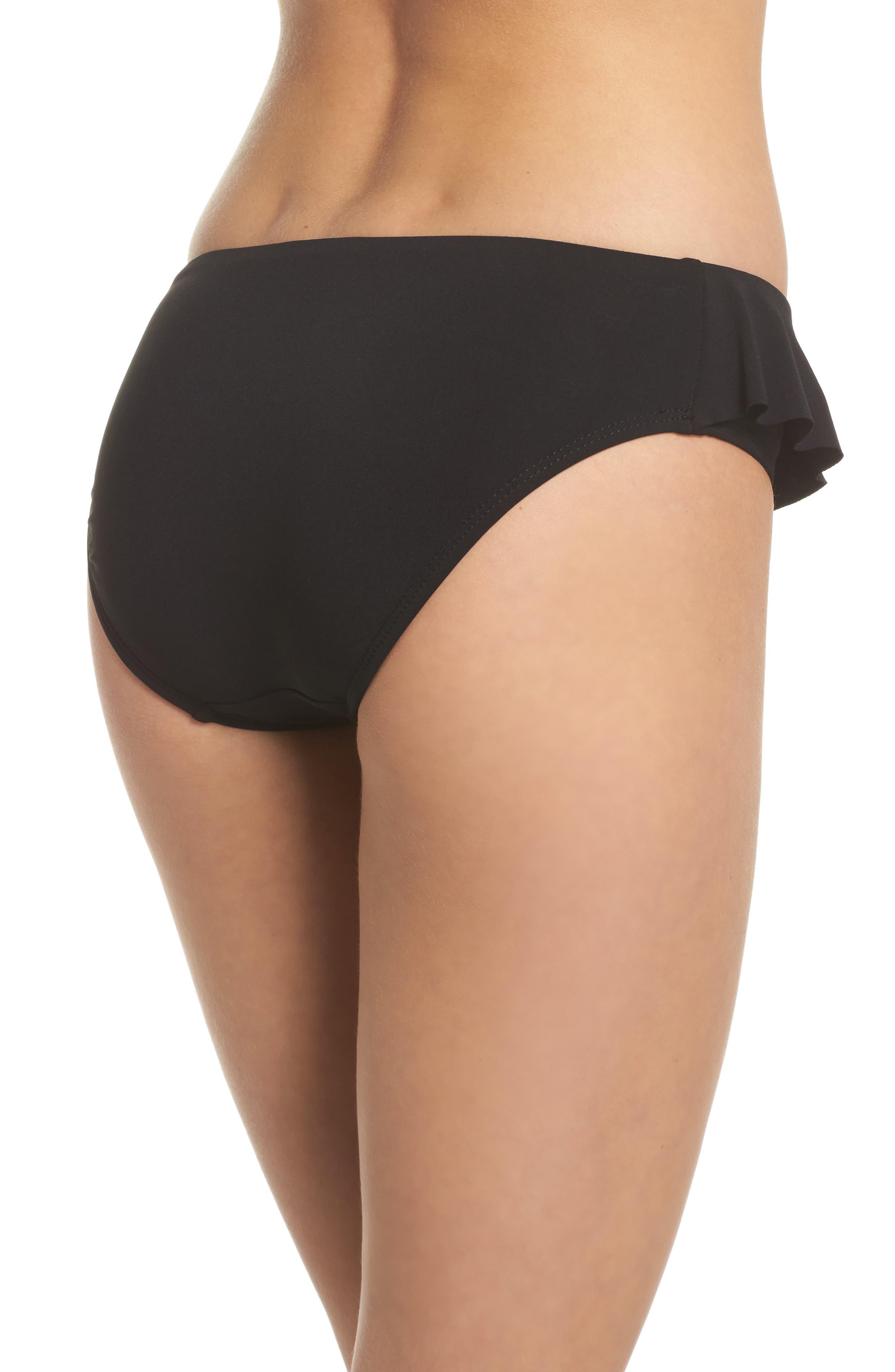 Lina Ruffle Bikini Bottoms,                             Alternate thumbnail 2, color,                             BLACK