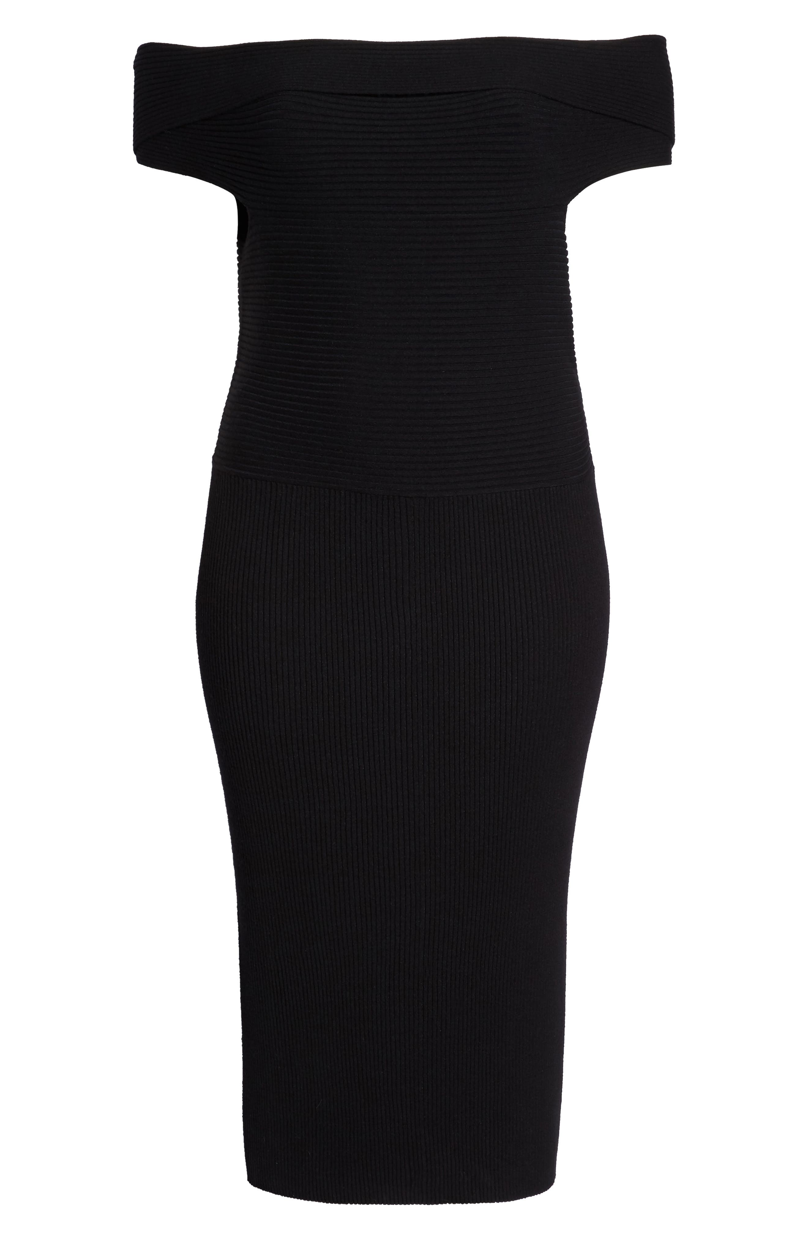 Shop Eliza J Off The Shoulder Midi Sweater Dress In Black