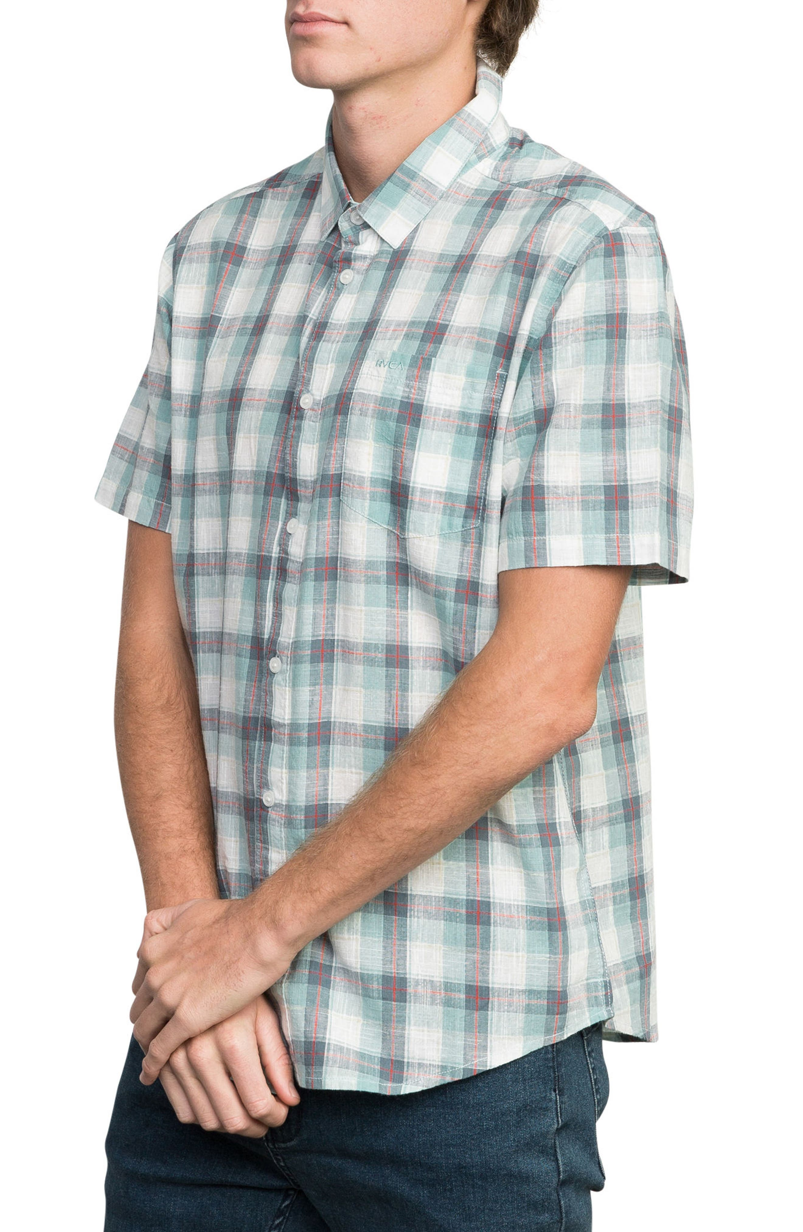 Deep Plaid Woven Shirt,                             Alternate thumbnail 3, color,                             BLUE