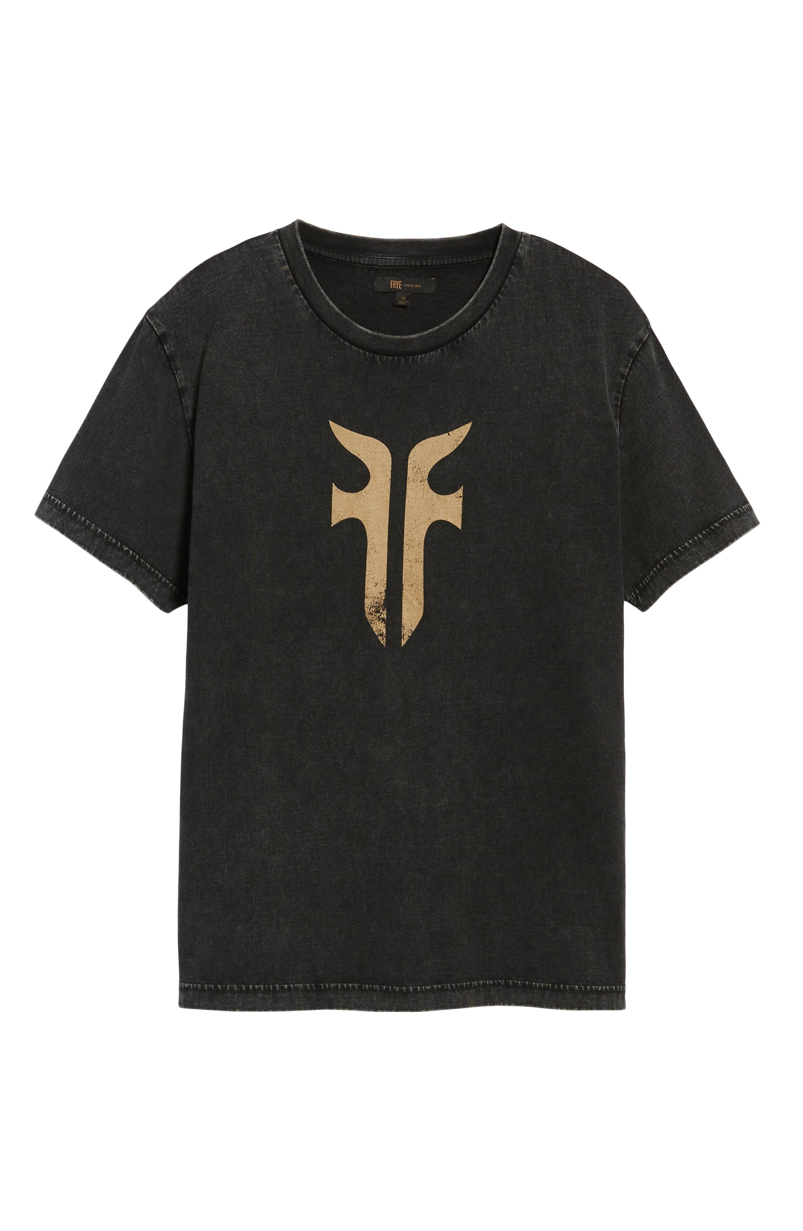 Double-F Logo Acid Wash T-Shirt,                             Alternate thumbnail 6, color,                             JET BLACK ACID WASH