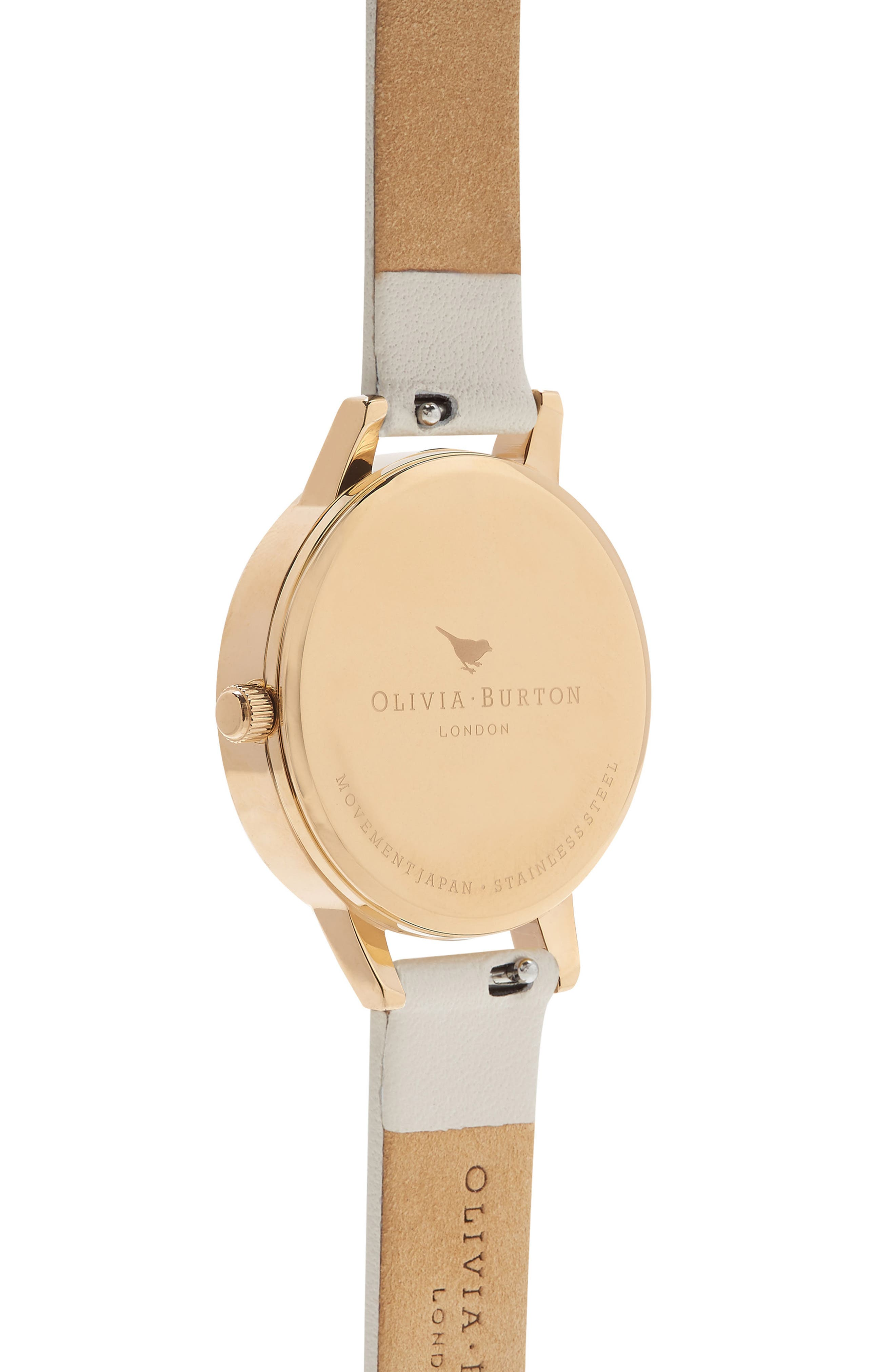 Marble Floral Leather Strap Watch, 30mm,                             Alternate thumbnail 2, color,                             NUDE/ WHITE FLORAL/ GOLD