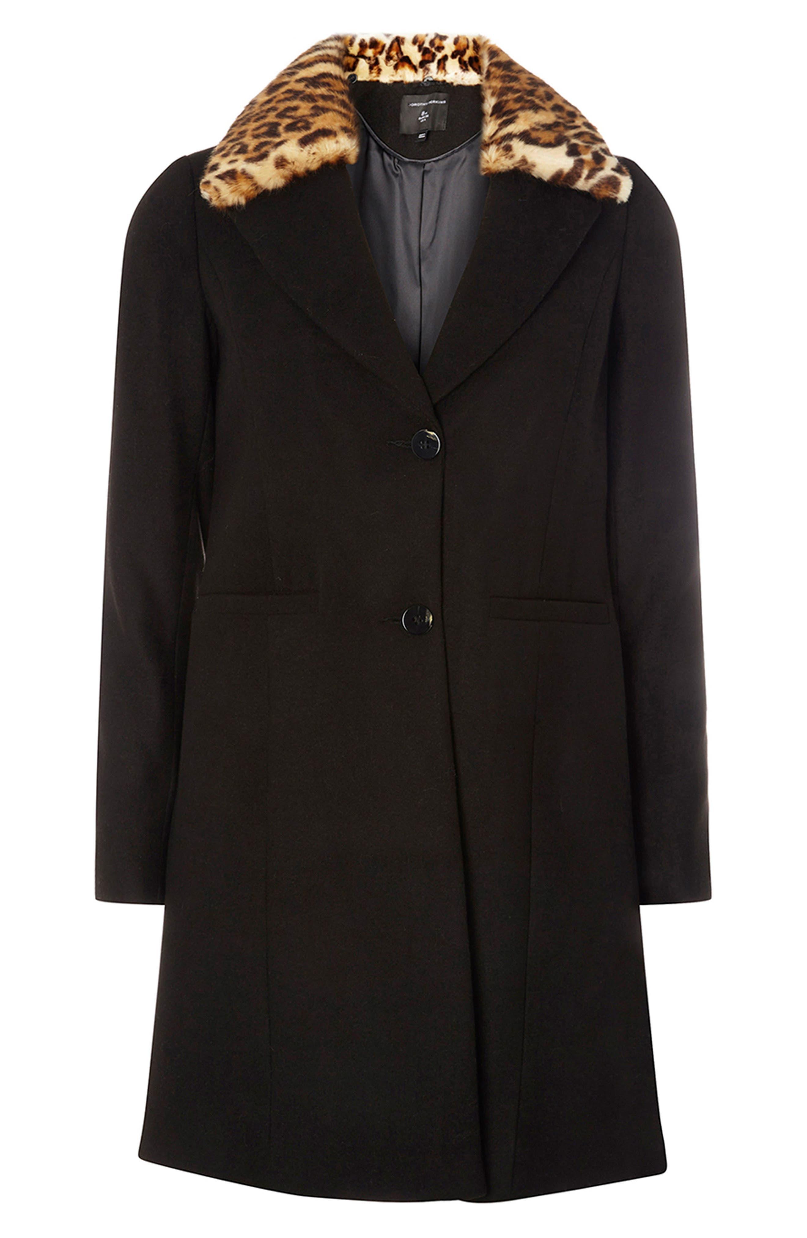 Coat with Faux Fur Collar,                             Alternate thumbnail 5, color,                             001