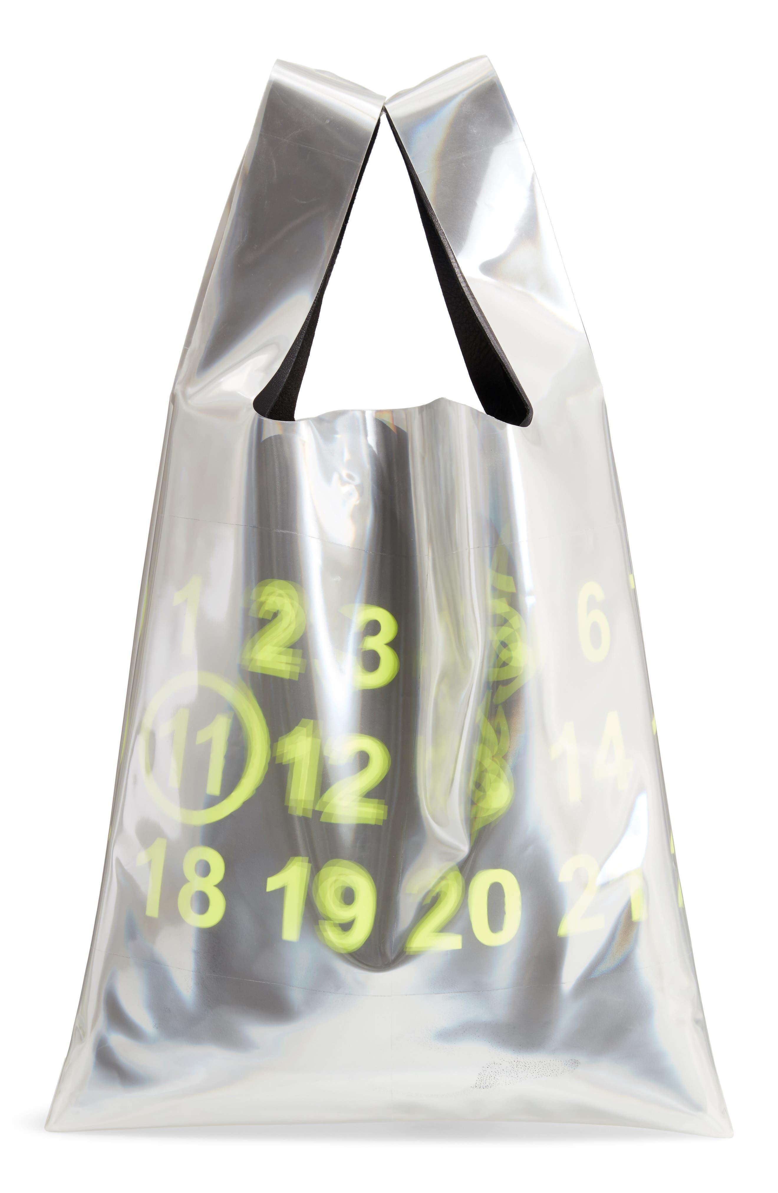 PVC & Leather Shopper Bag,                         Main,                         color, BLACK/ YELLOW FLUO