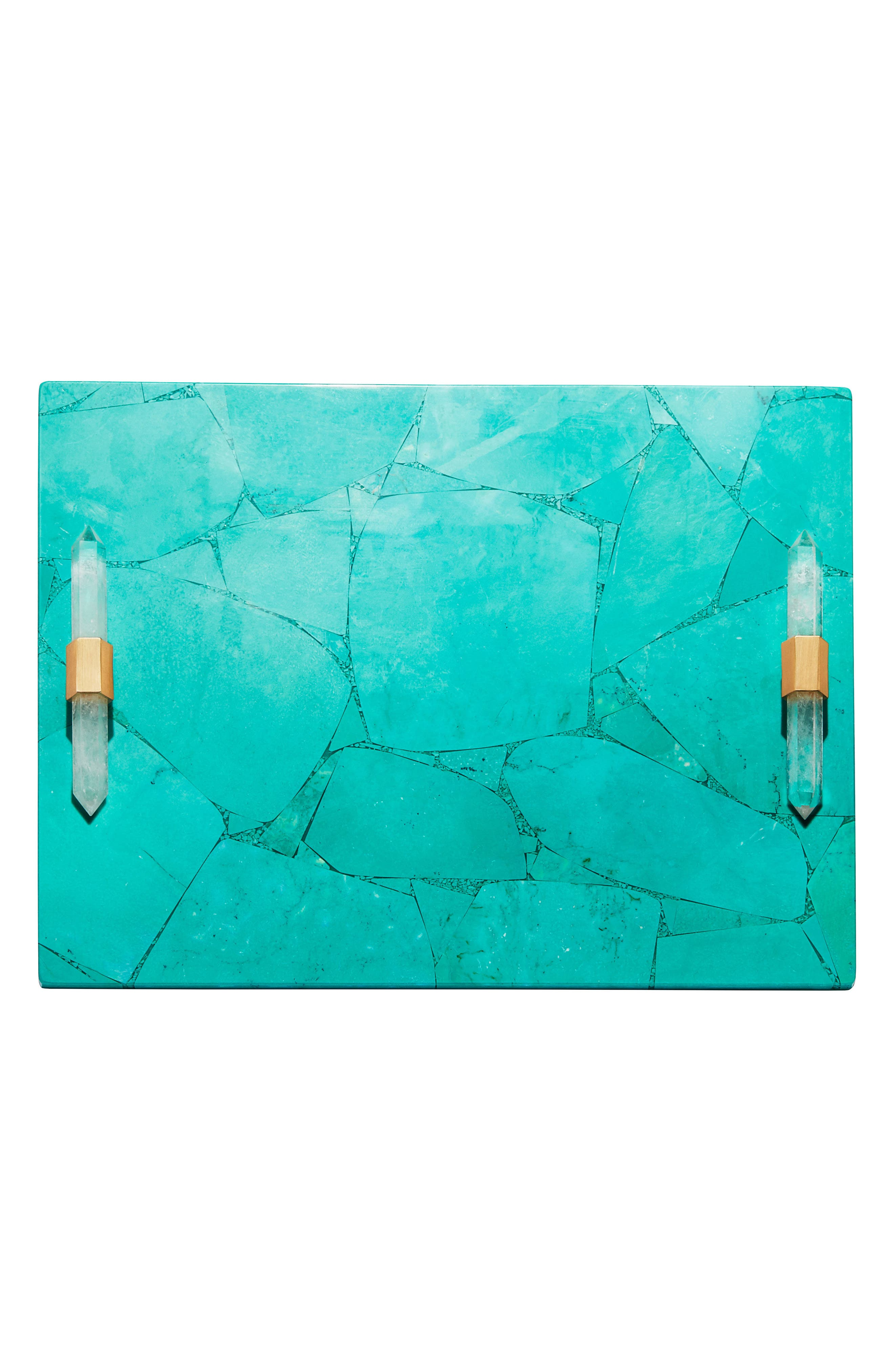 Small Stone Slab Tray,                             Alternate thumbnail 2, color,                             VARIEGATED TEAL