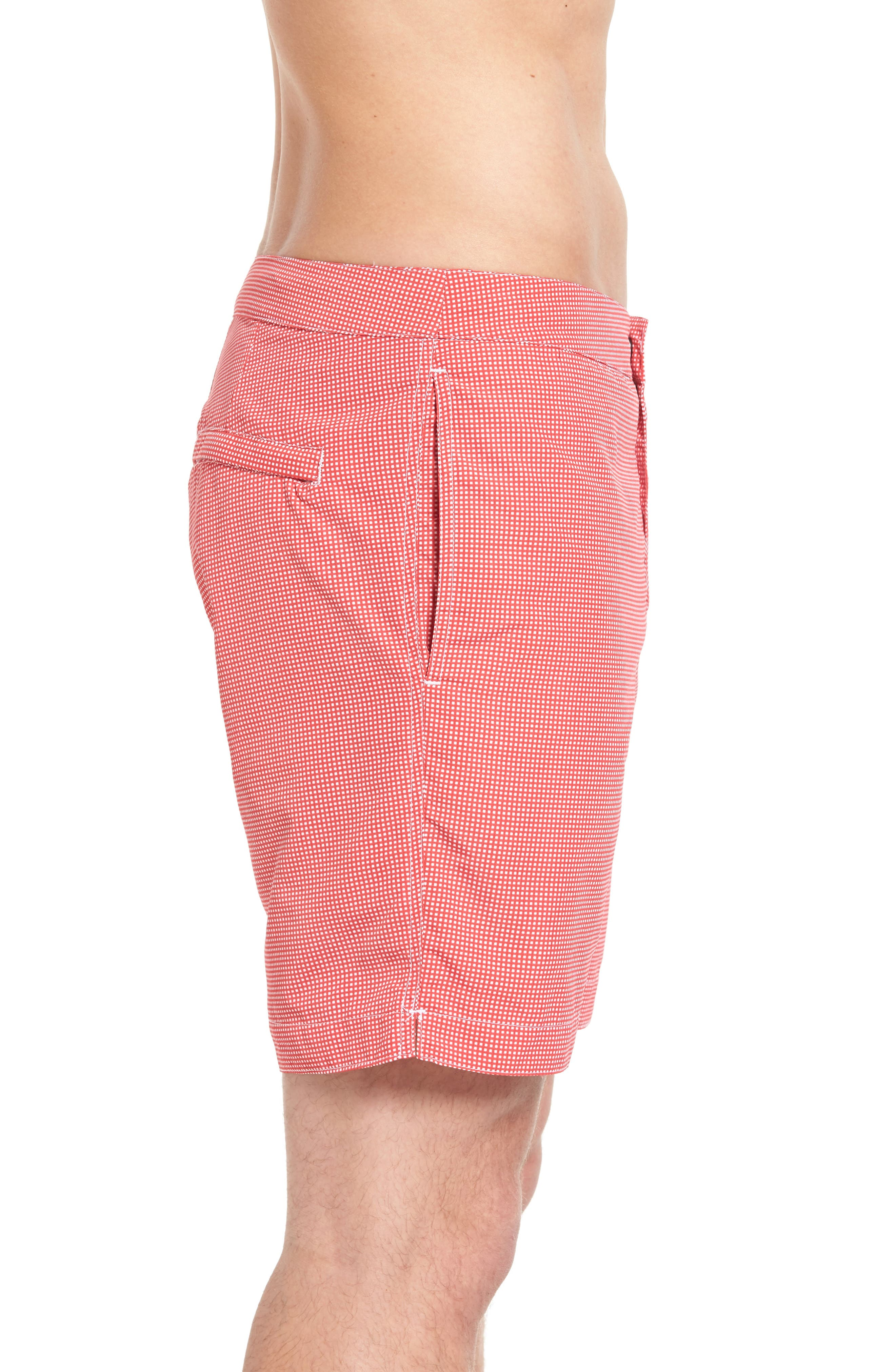 Aruba Microcheck Tailored Fit 8.5 Inch Swim Trunks,                             Alternate thumbnail 3, color,                             611