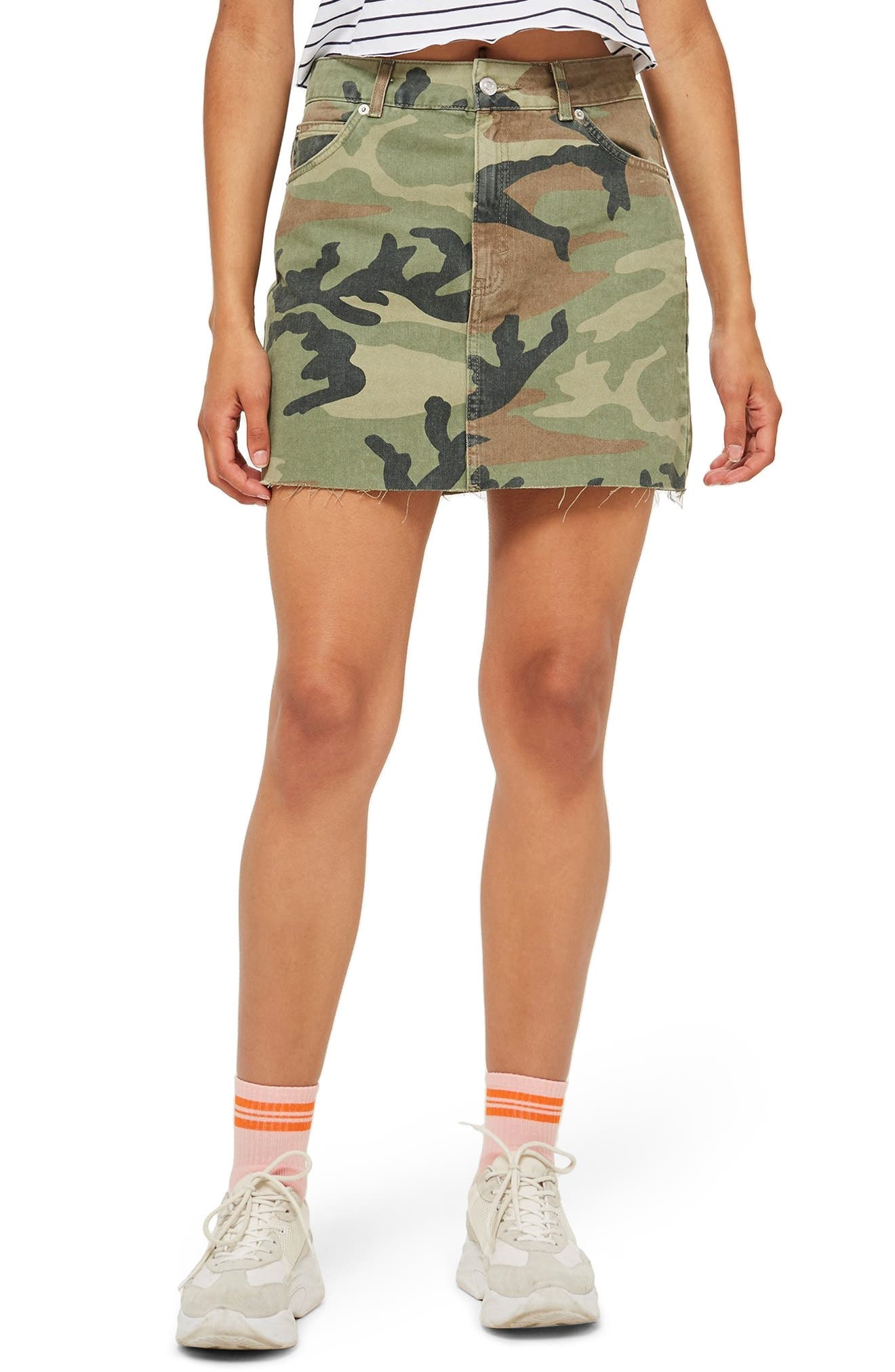Camouflage Denim Skirt,                             Main thumbnail 1, color,                             GREEN MULTI
