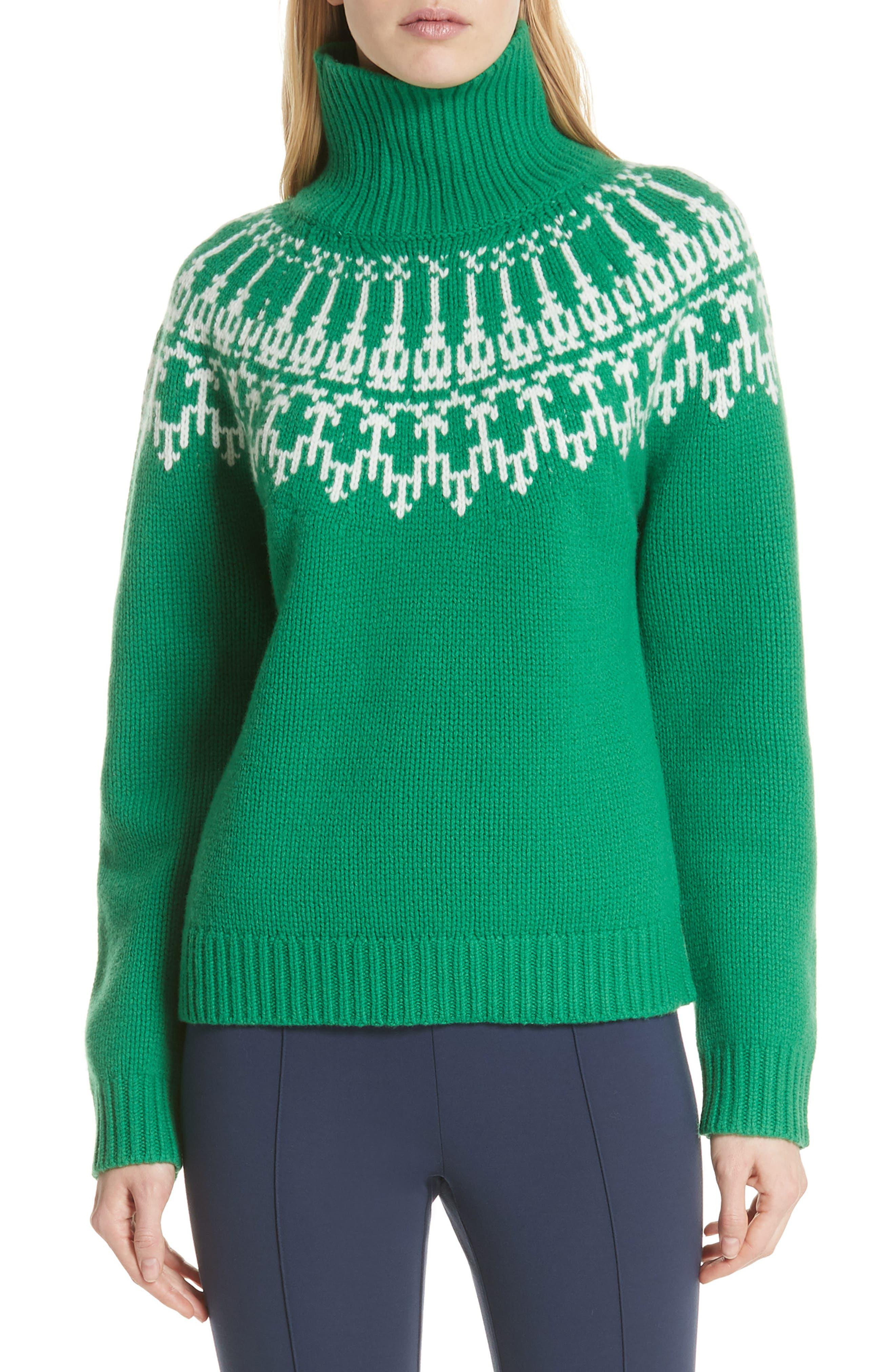 Tory Sport Fair Isle Turtleneck Sweater, Green