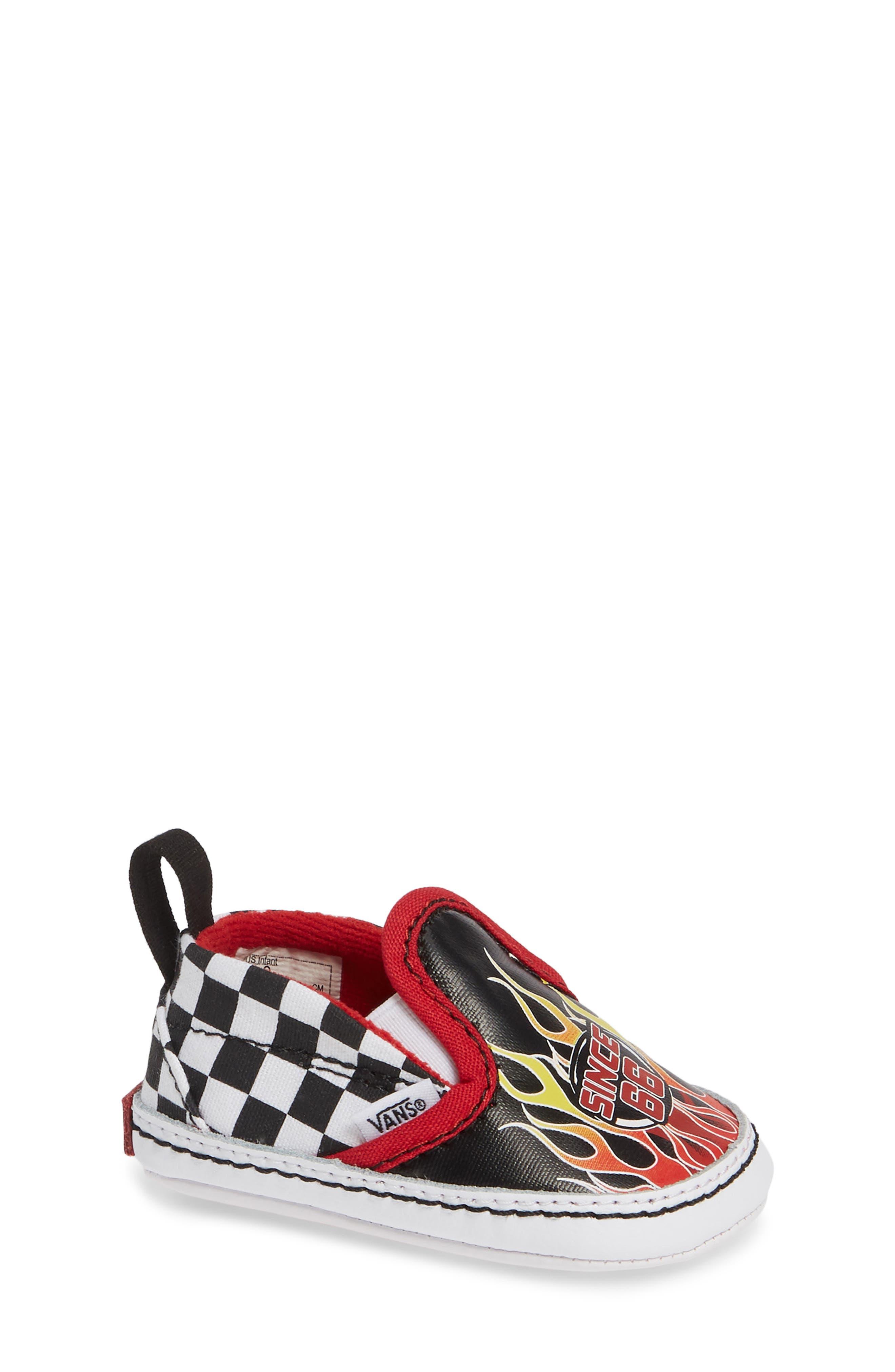Slip-On V Crib Shoe,                             Main thumbnail 1, color,                             BLACK/ TRUE WHITE TEXTILE