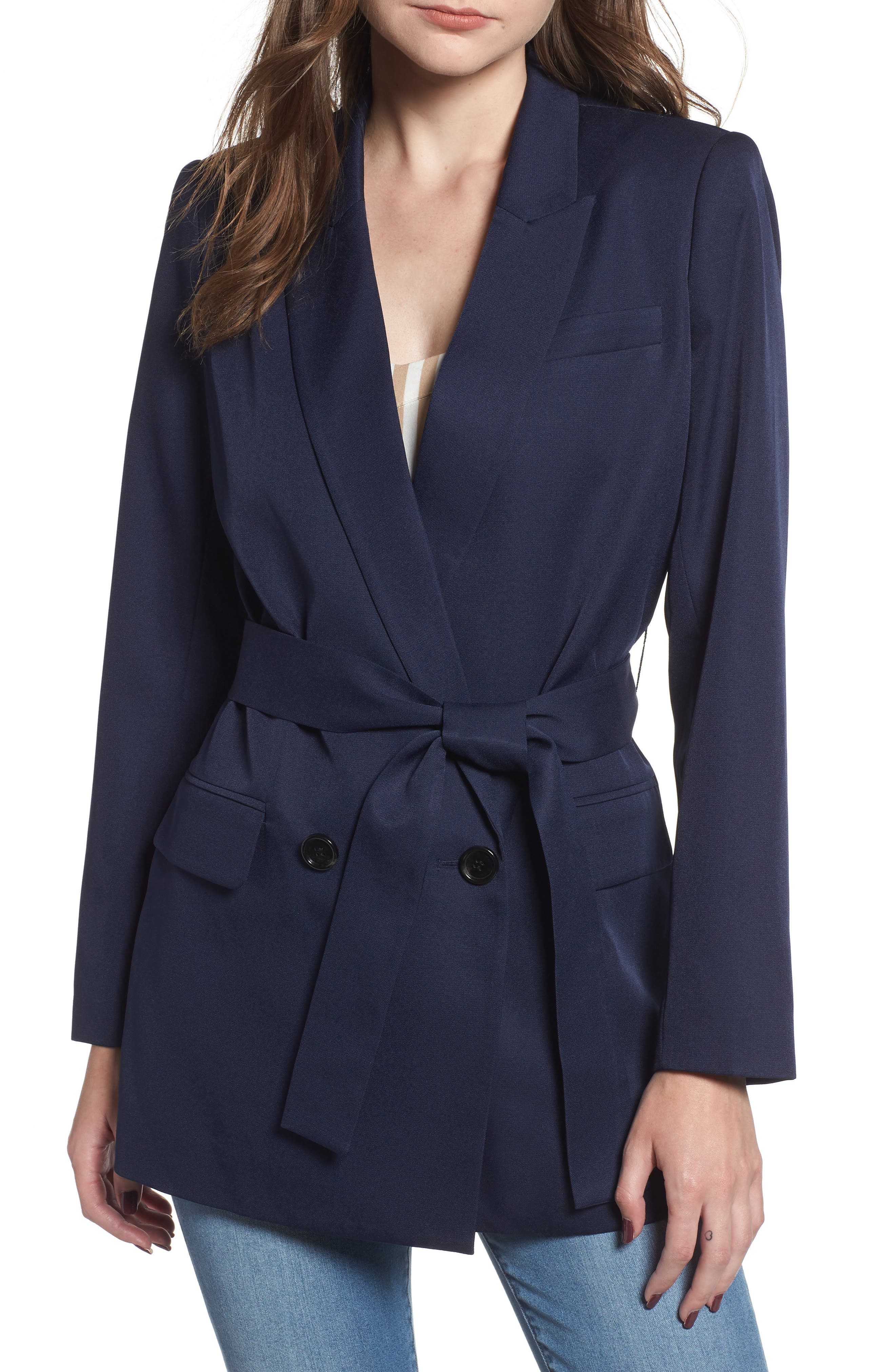 Belted Blazer,                             Main thumbnail 1, color,                             NAVY