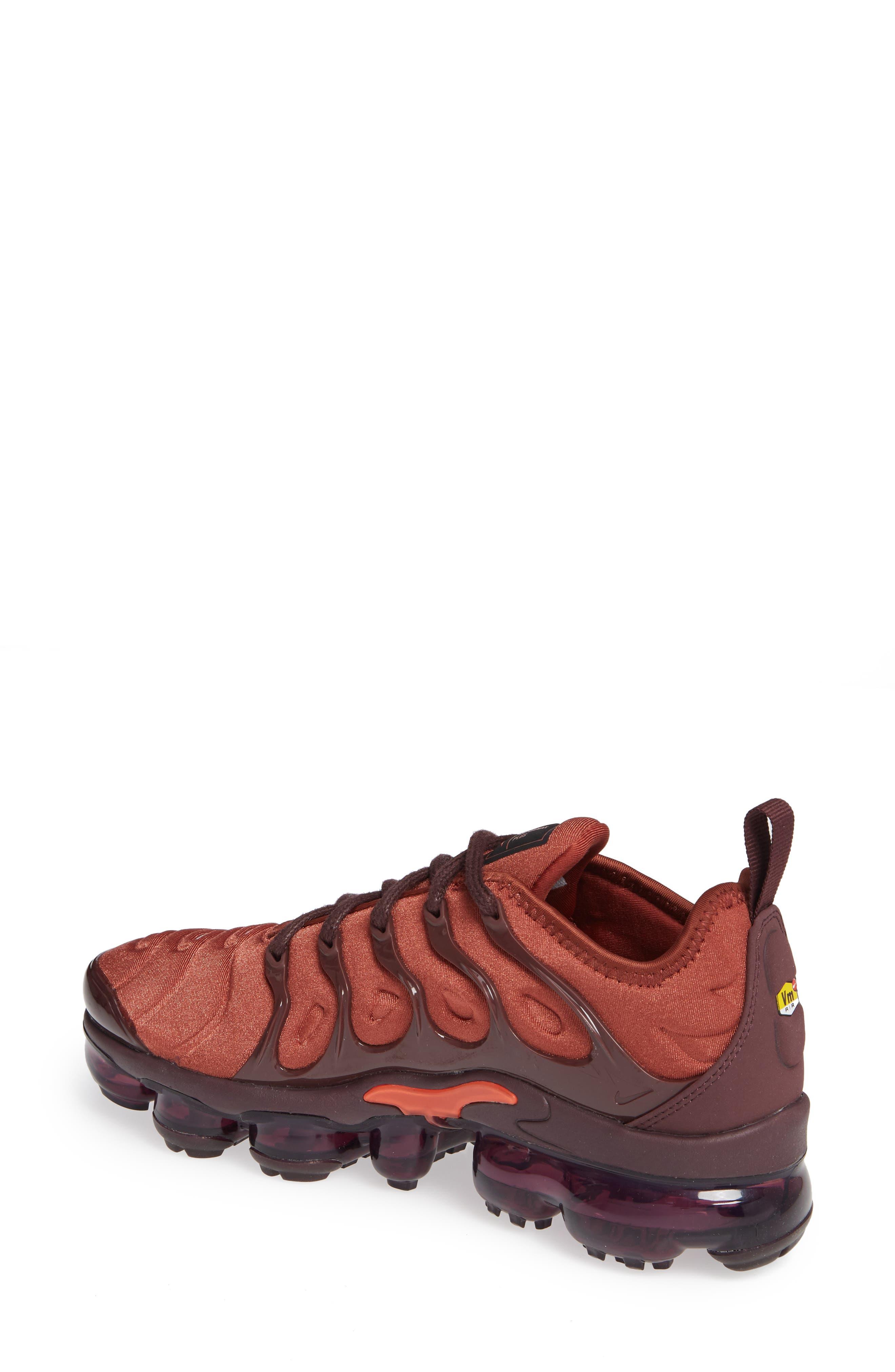 Air VaporMax Plus Sneaker,                             Alternate thumbnail 2, color,                             BURNT ORANGE/ RED-BURGUNDY