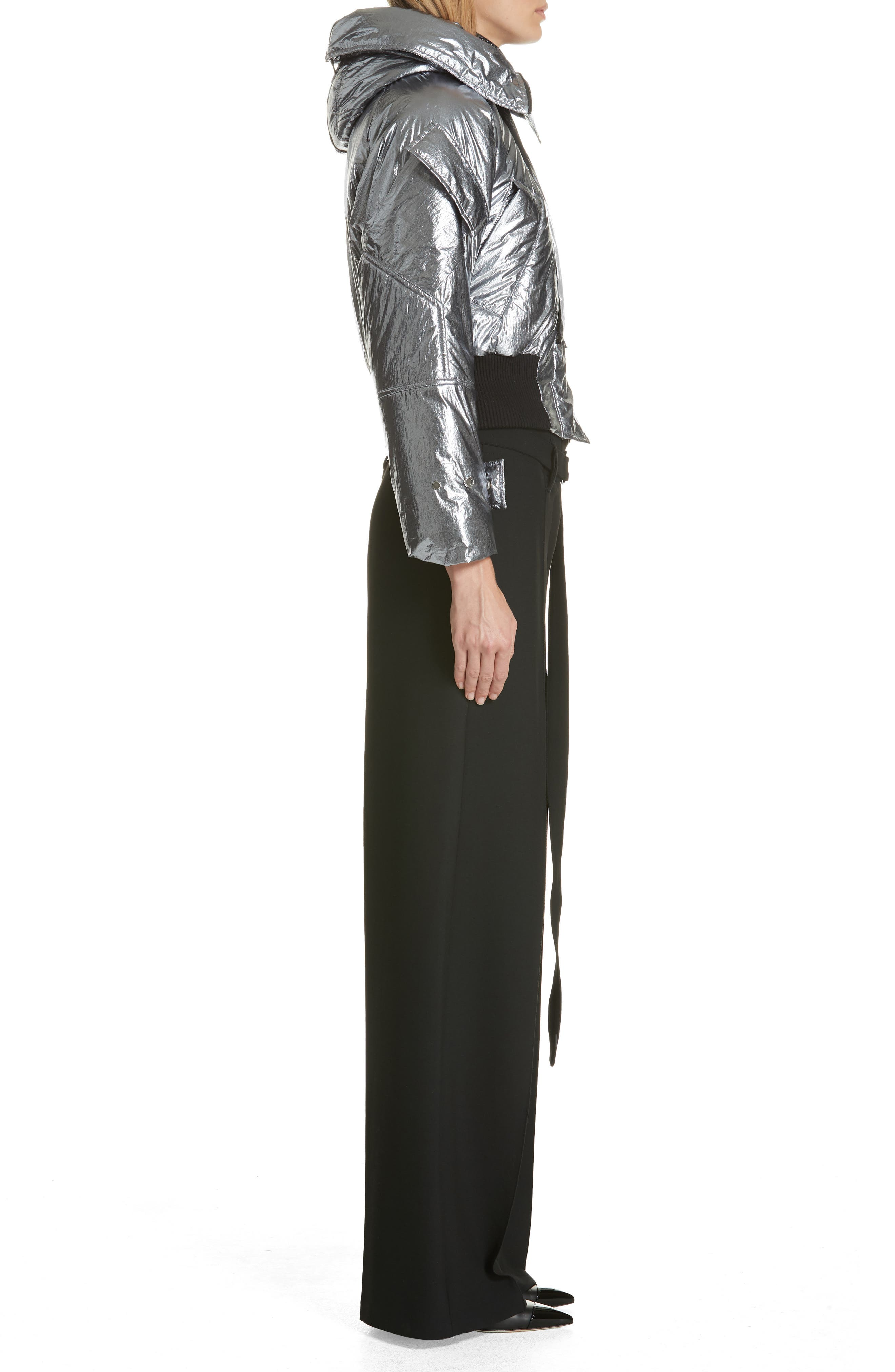 Metallic Crop Puffer Jacket,                             Alternate thumbnail 3, color,                             040