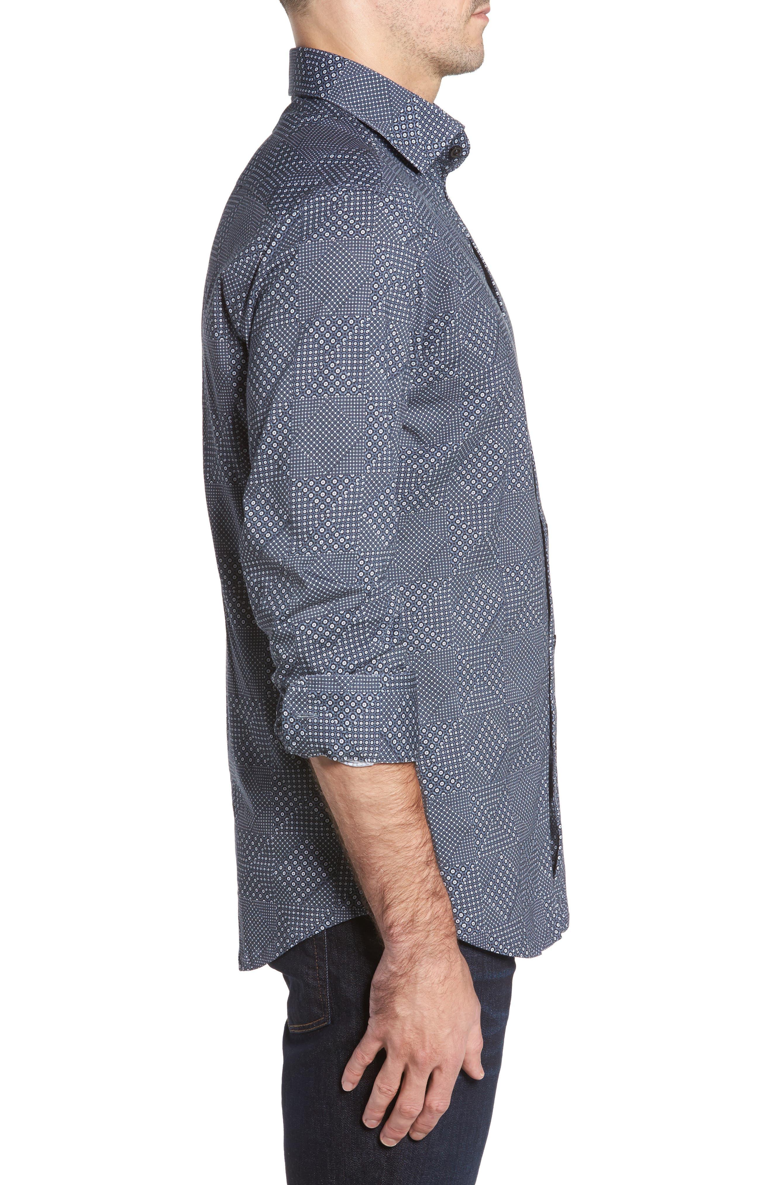 Slim Fit Patchwork Print Knit Sport Shirt,                             Alternate thumbnail 3, color,                             001