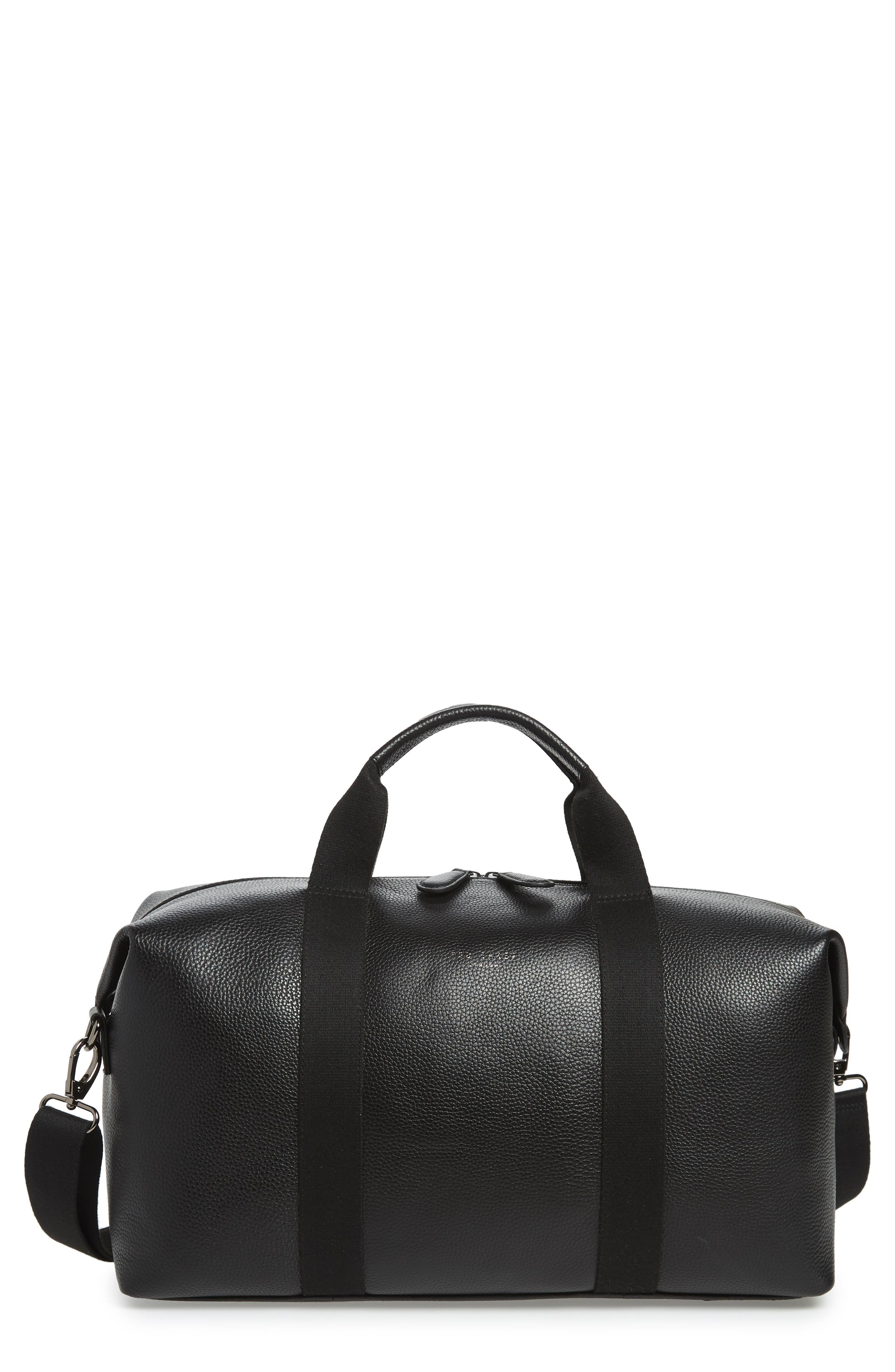 Holding Leather Duffel Bag,                         Main,                         color, BLACK