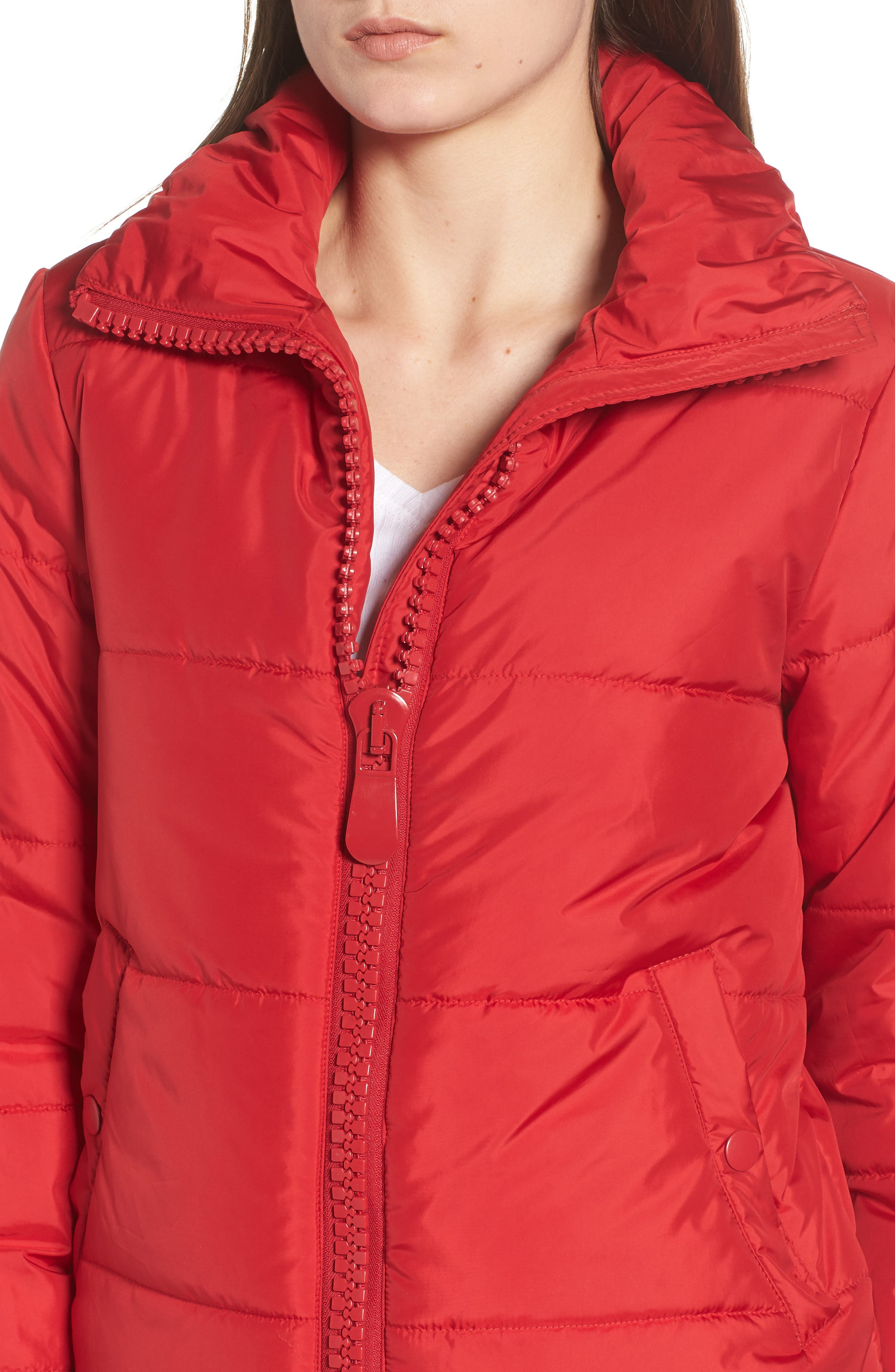 Rail Quilted Puffer Jacket,                             Alternate thumbnail 4, color,                             SPICE RED