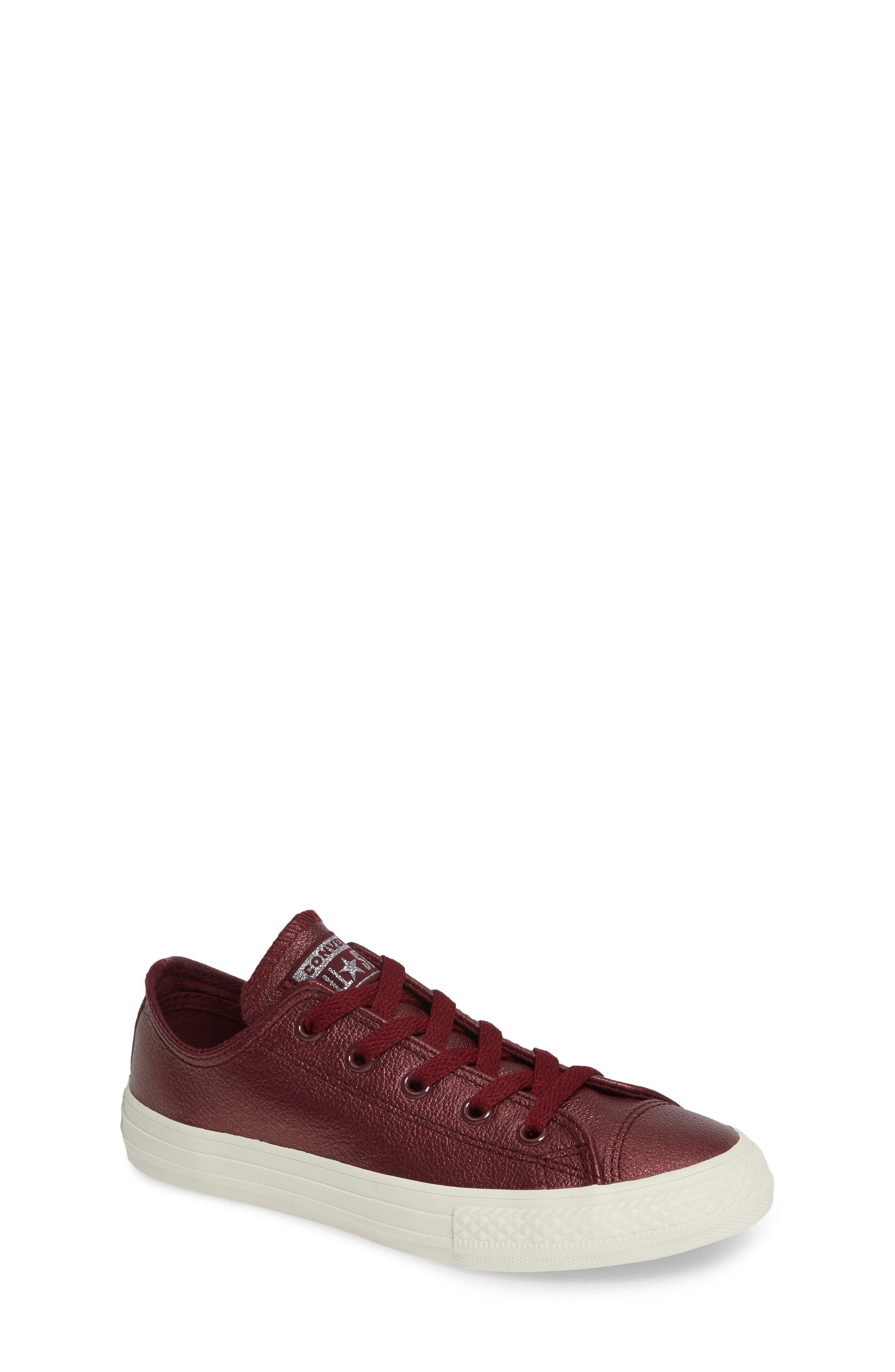 Chuck Taylor<sup>®</sup> All Star<sup>®</sup> Metallic Faux Leather Ox Sneaker,                             Main thumbnail 1, color,                             DARK BURGUNDY