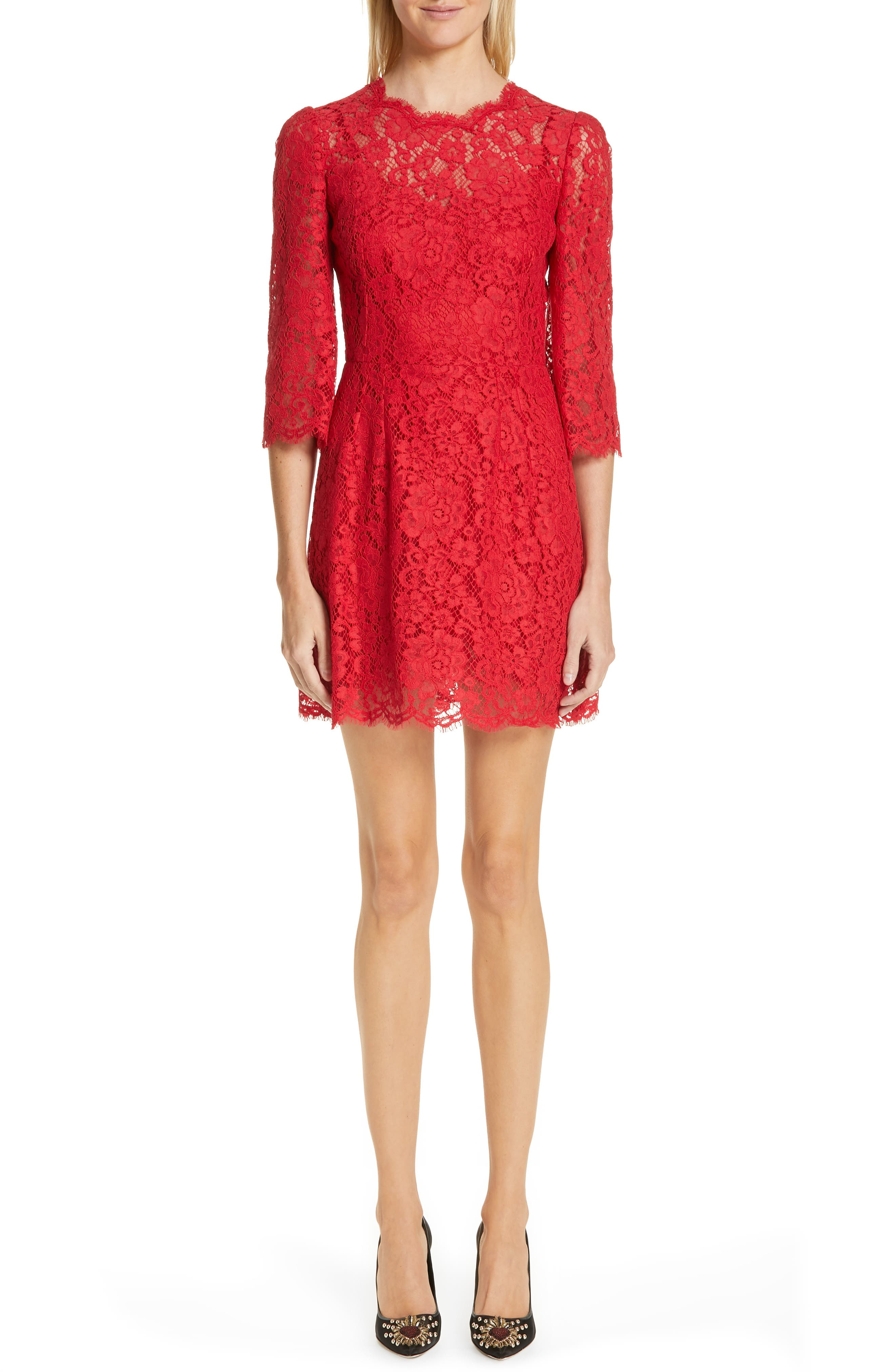 Dolce & gabbana Lace A-Line Dress, US / 42 IT - Red