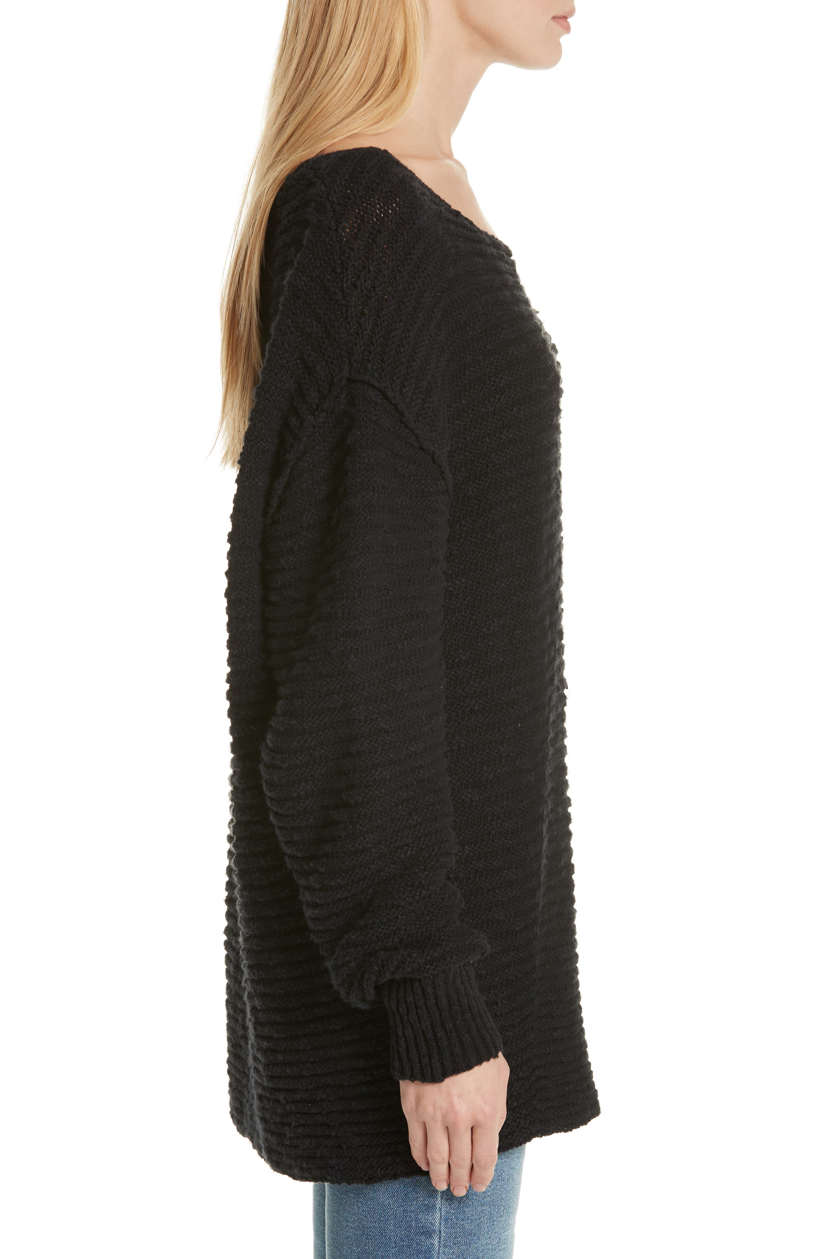 Menace Solid Tunic Sweater,                             Alternate thumbnail 3, color,                             001