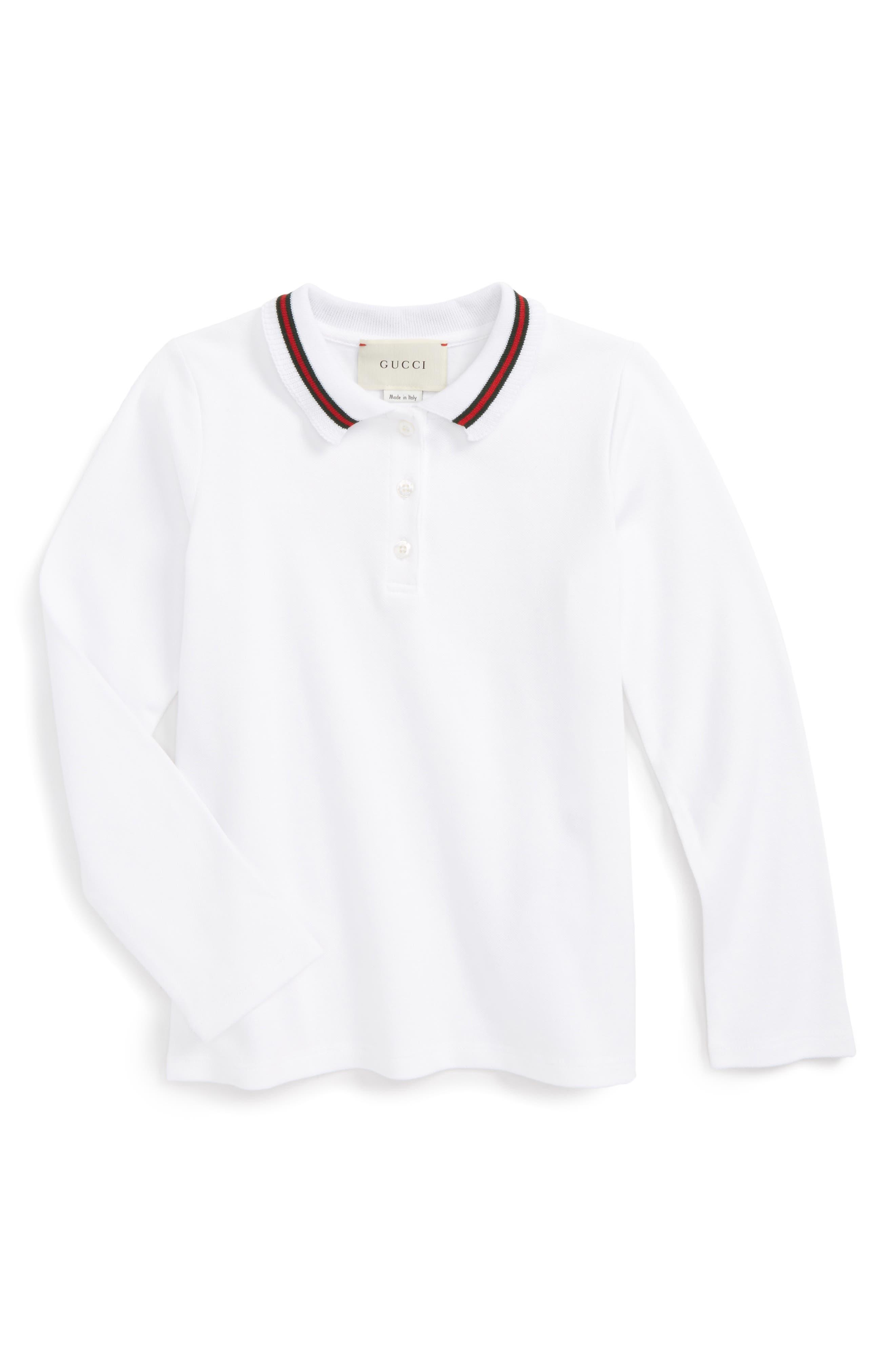 Ribbon Polo,                             Main thumbnail 1, color,                             WHITE MULTI