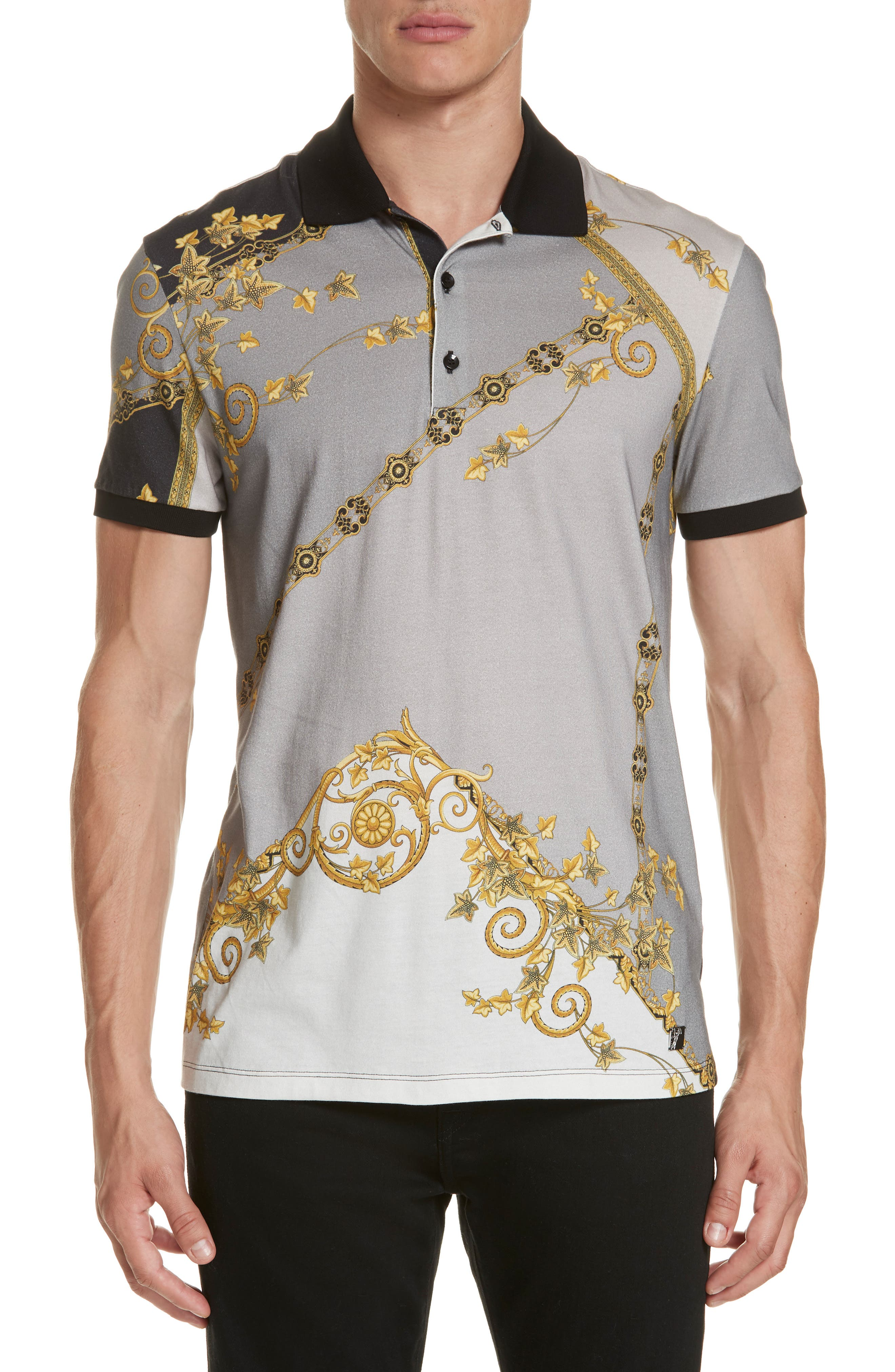 VERSACE COLLECTION,                             Print Jersey Polo,                             Main thumbnail 1, color,                             GREY PRINT