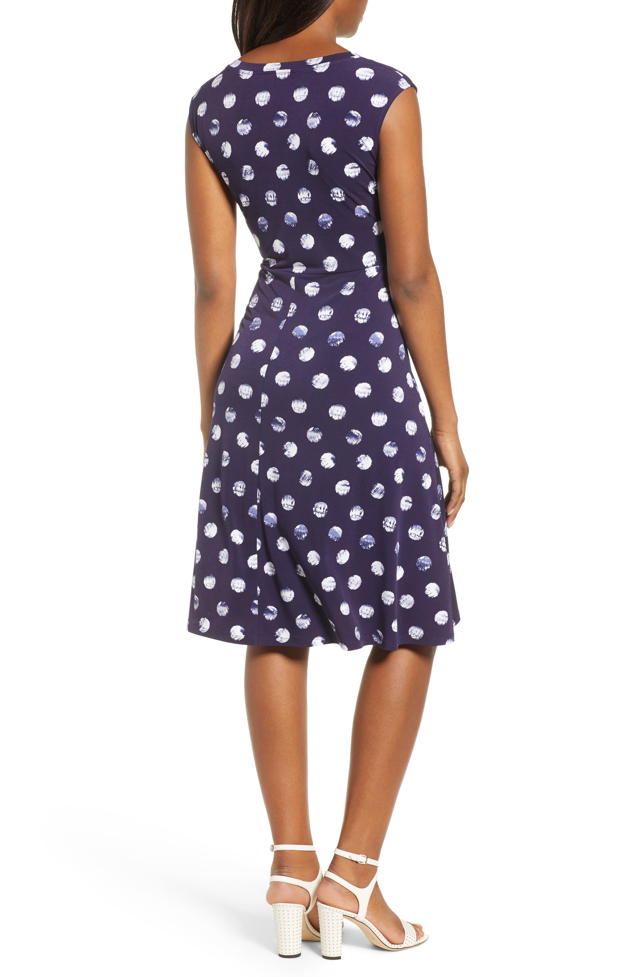 Tie Dye Dot A-Line Dress,                             Alternate thumbnail 2, color,                             EVENING NAVY