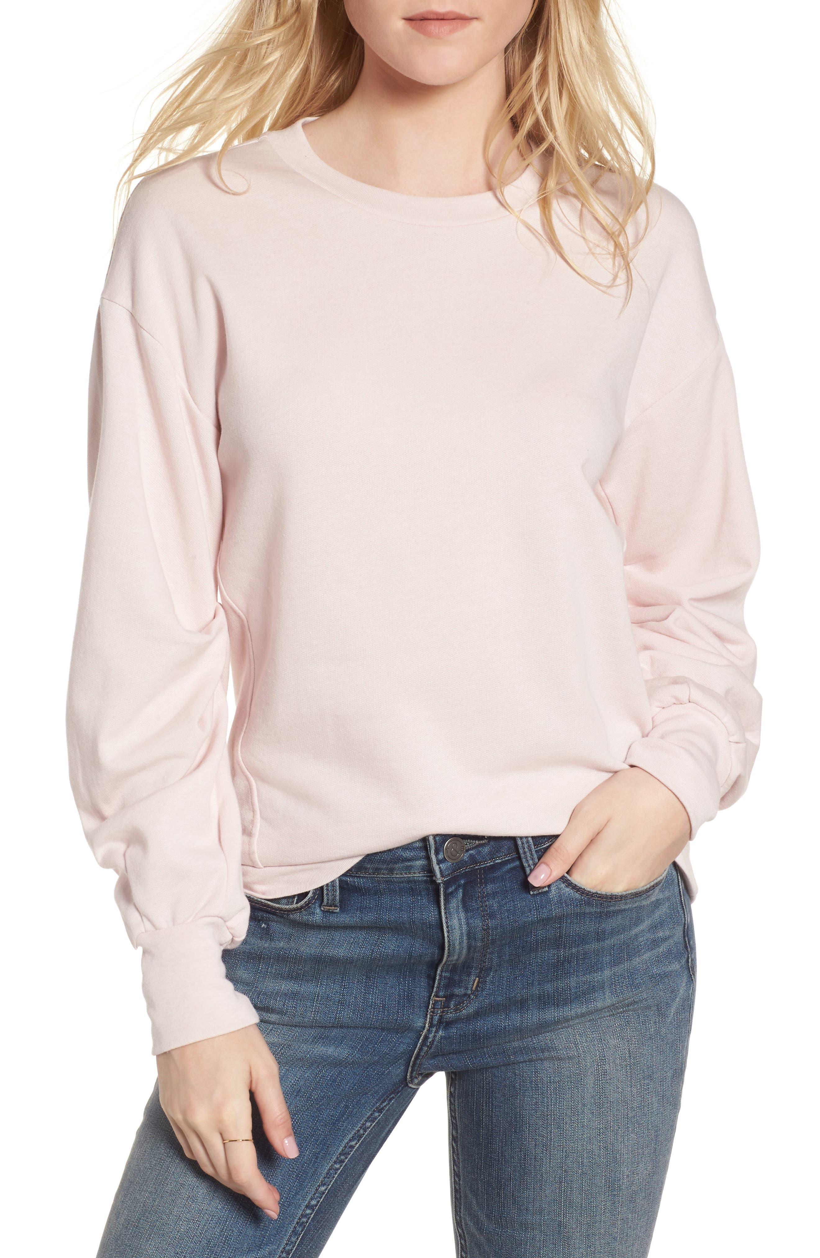 Pleated Sleeve Sweatshirt,                             Main thumbnail 2, color,