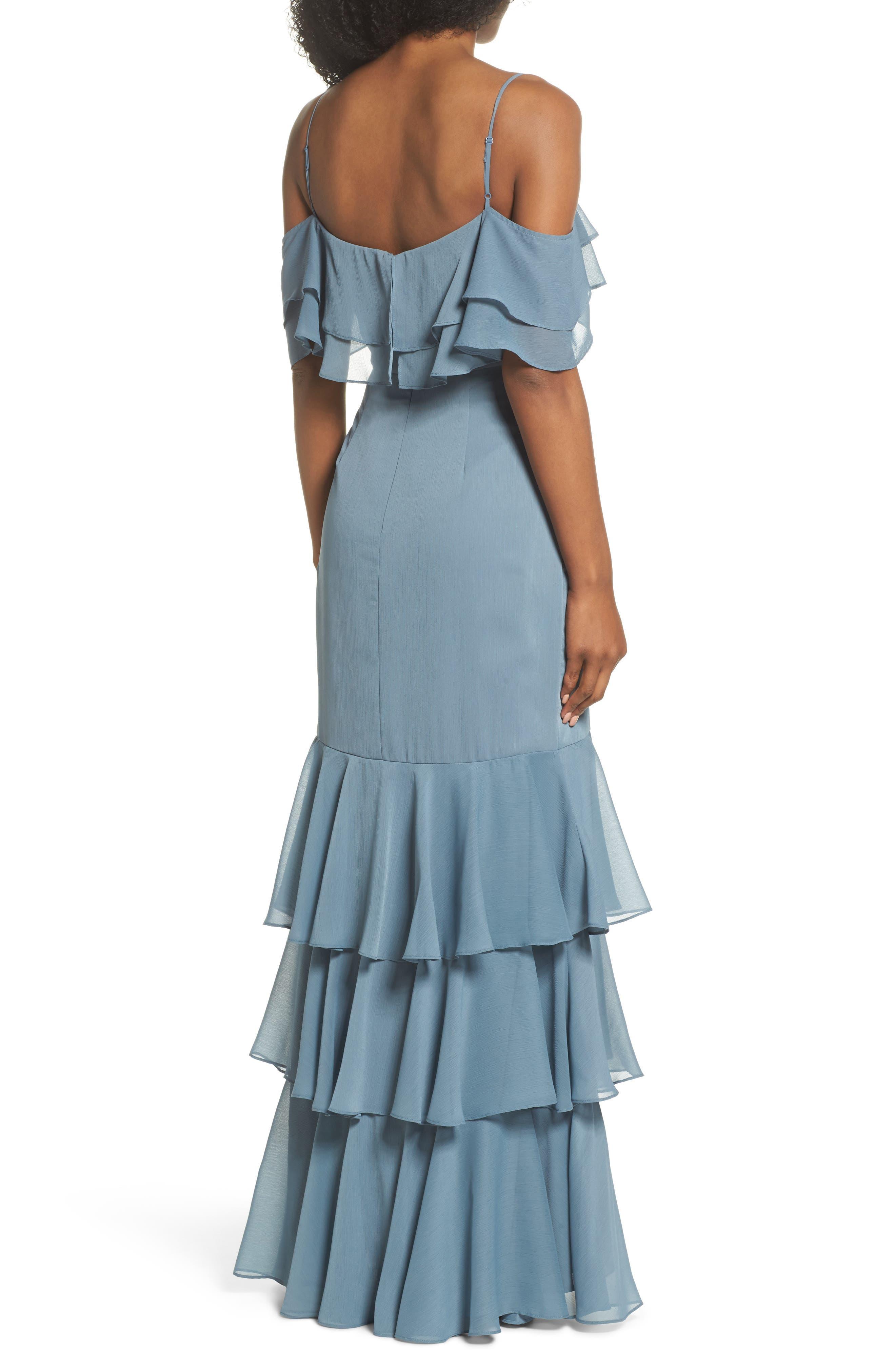Lauren Cold Shoulder Tiered Gown,                             Alternate thumbnail 4, color,