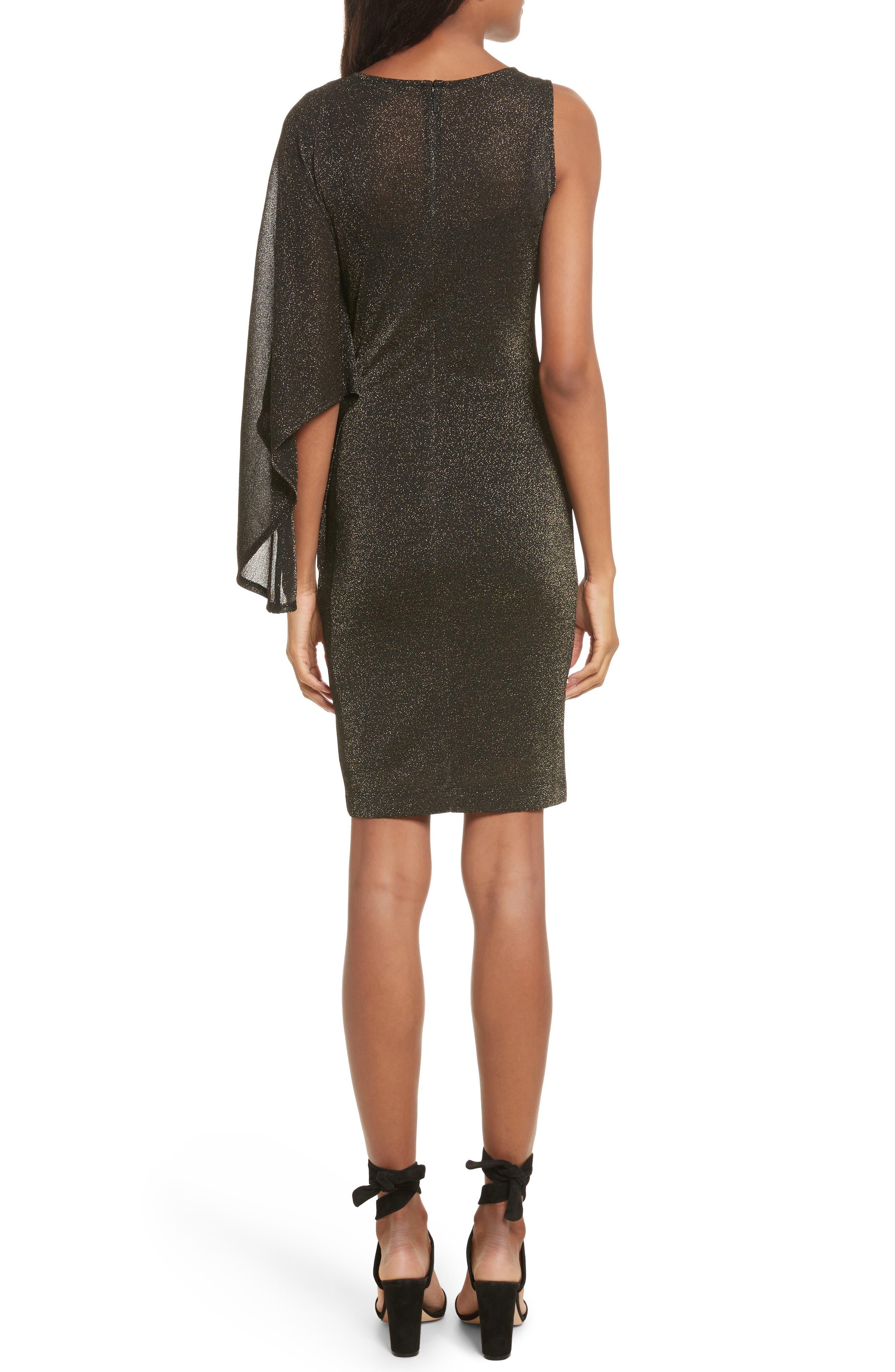 Draped One-Shoulder Dress,                             Alternate thumbnail 2, color,                             001