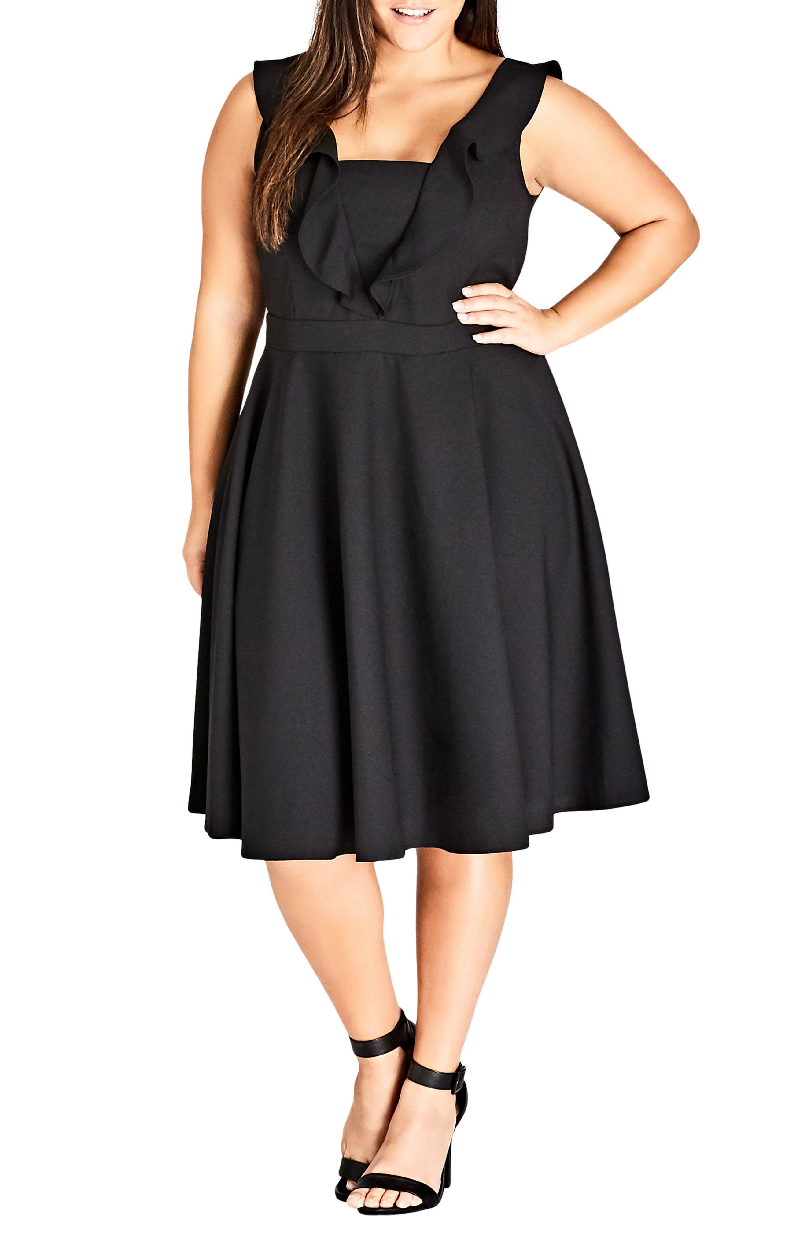 Flirty Flutter A-Line Dress,                             Main thumbnail 1, color,                             BLACK