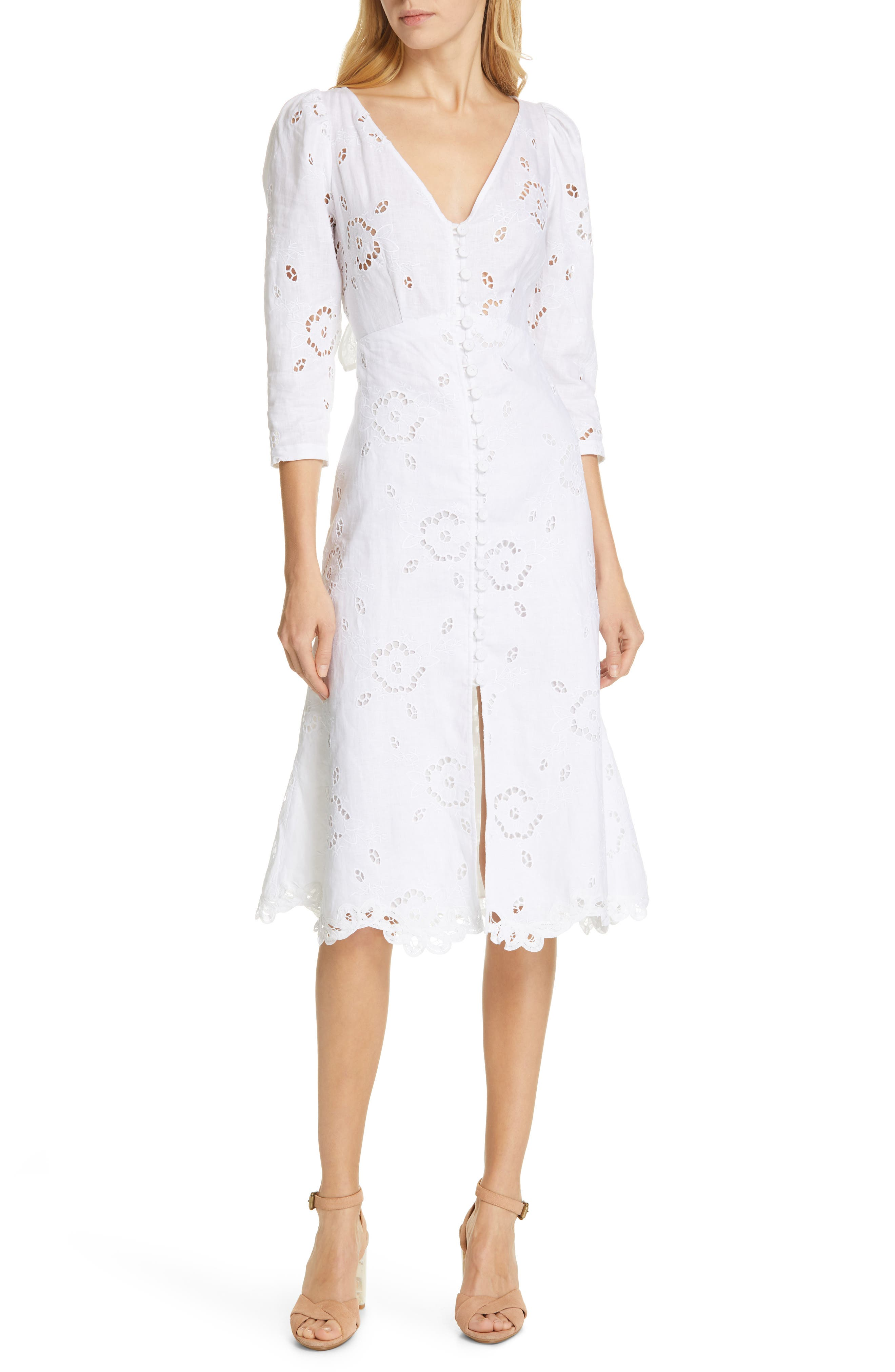 REBECCA TAYLOR Terri Embroidered A-Line Dress, Main, color, MILK