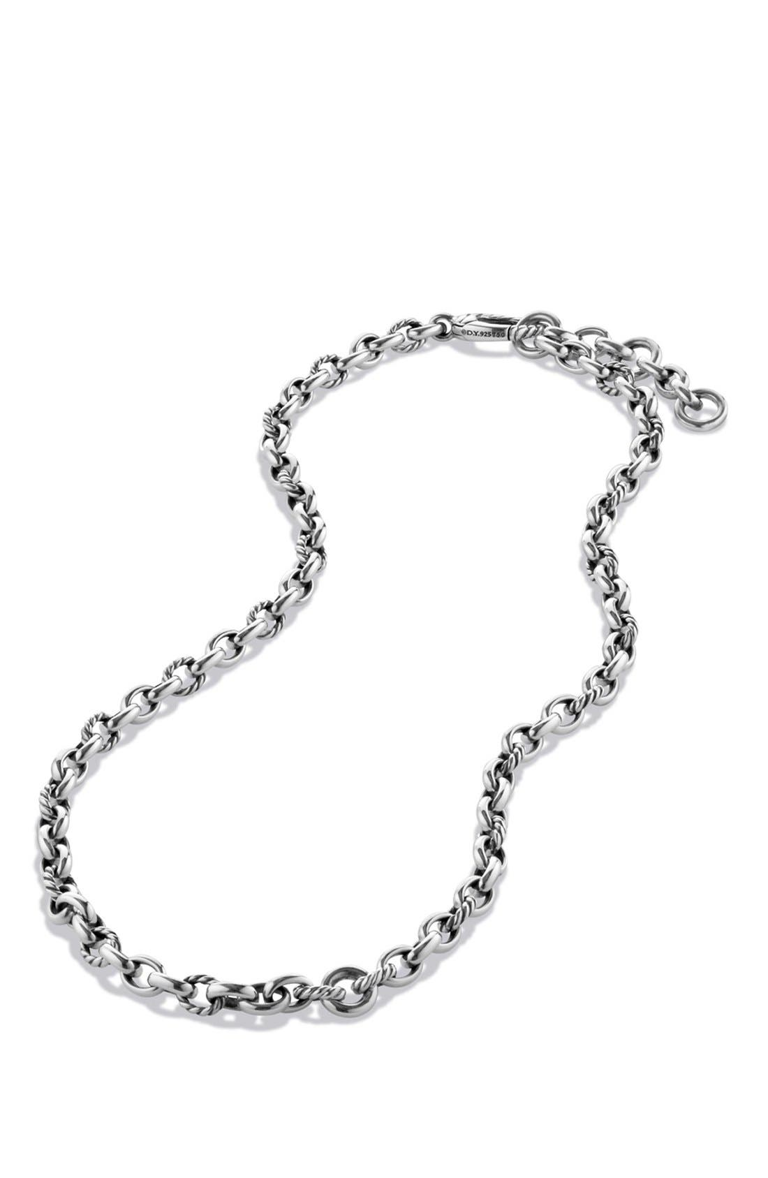 'Chain' Cushion Chain Necklace,                             Alternate thumbnail 3, color,                             SILVER